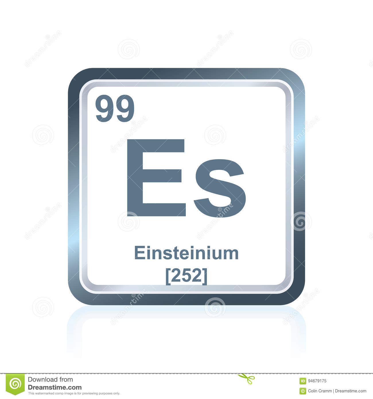 Chemical Element Einsteinium From The Periodic Table Stock