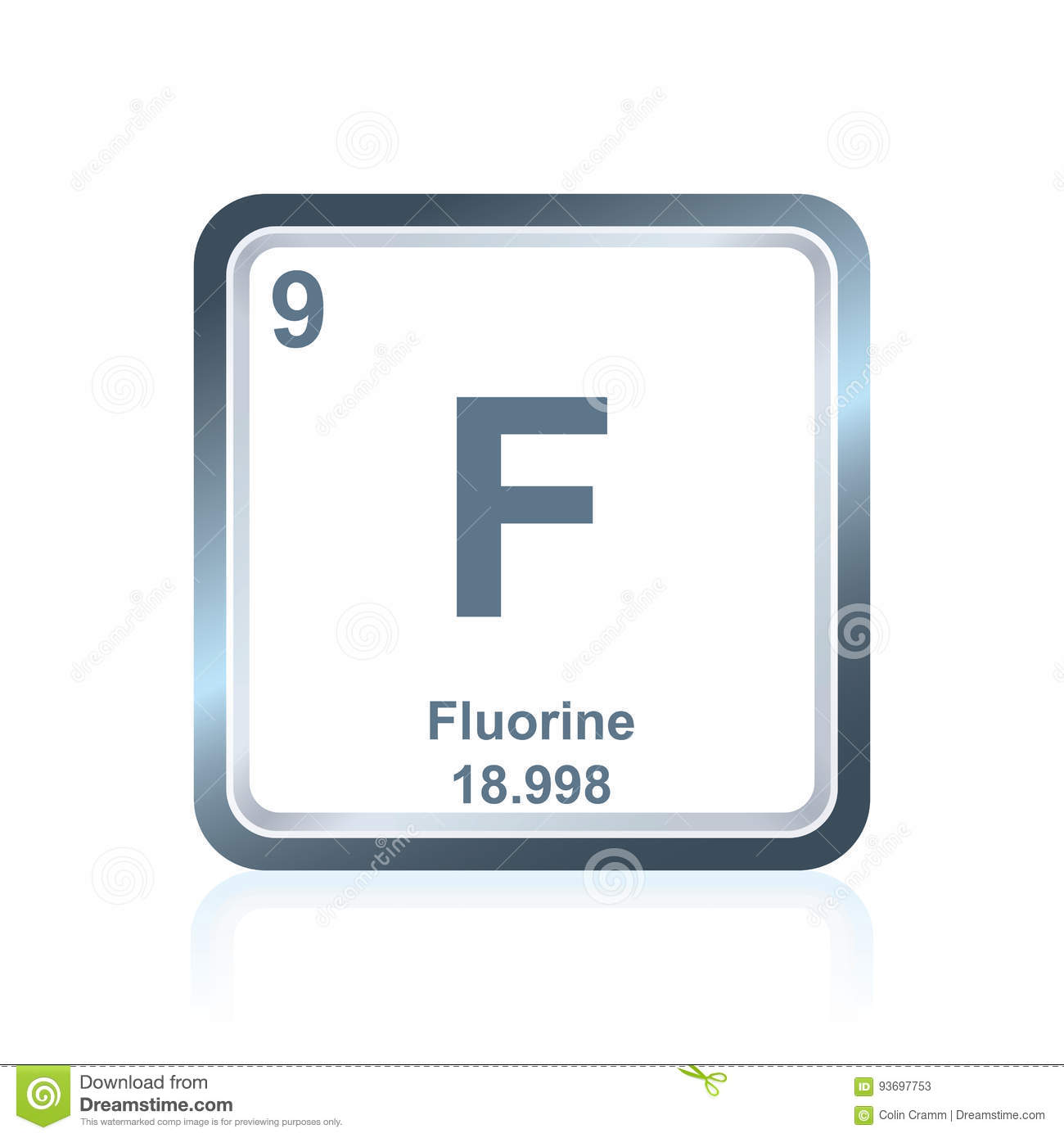 Chemical Element Fluorine From The Periodic Table Stock Vector