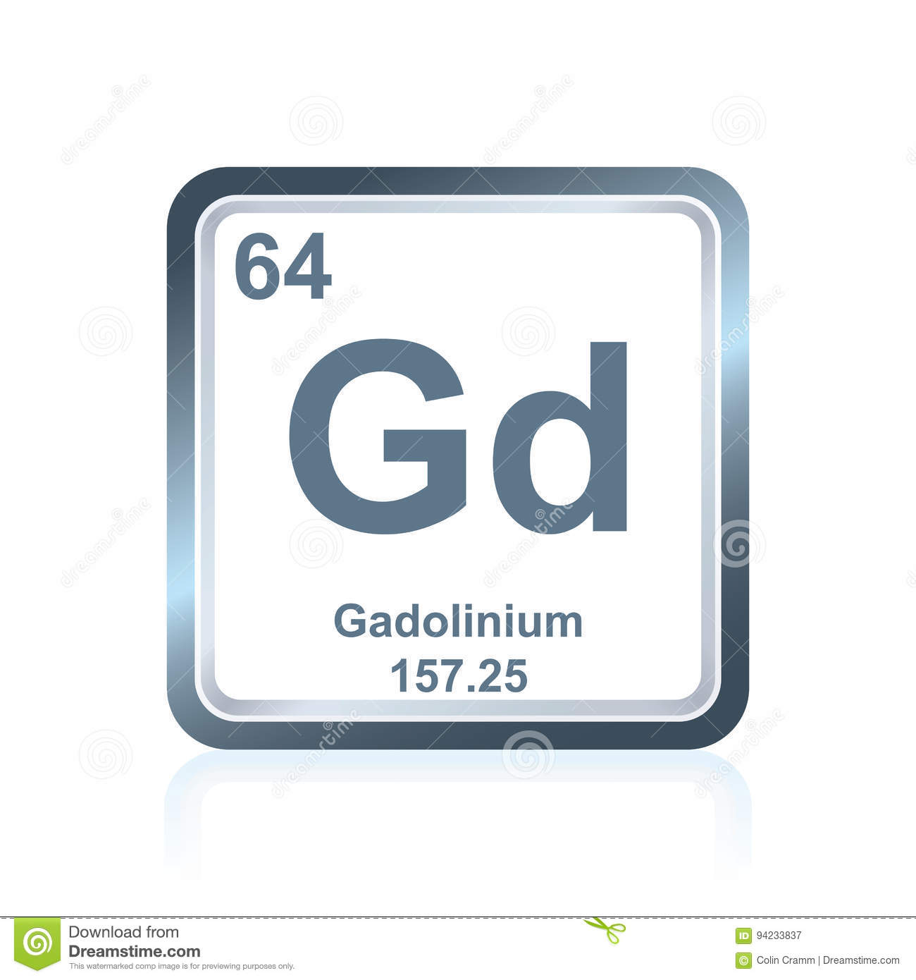 Chemical Element Gadolinium From The Periodic Table Stock