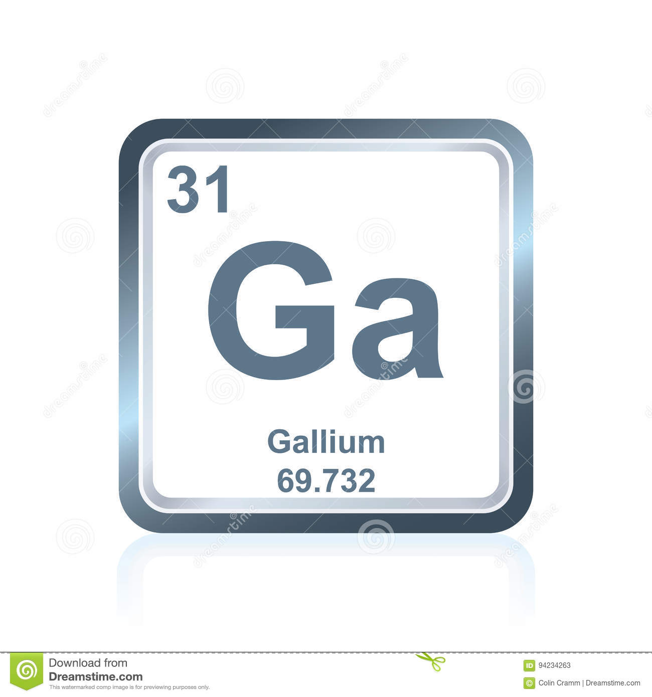 Chemical Element Gallium From The Periodic Table Stock Illustration