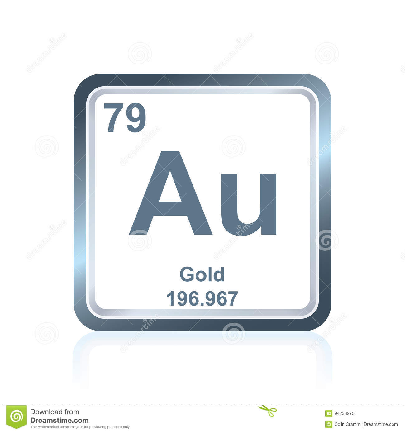 Chemical Element Gold From The Periodic Table Stock Illustration
