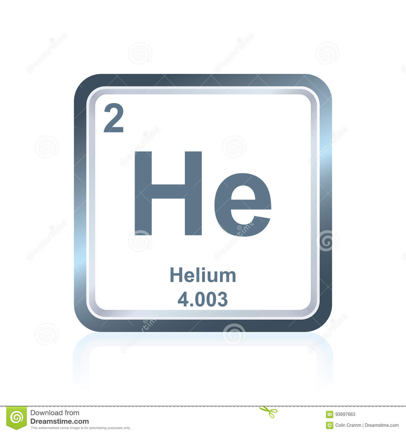 Chemical Element Helium From The Periodic Table Stock Vector