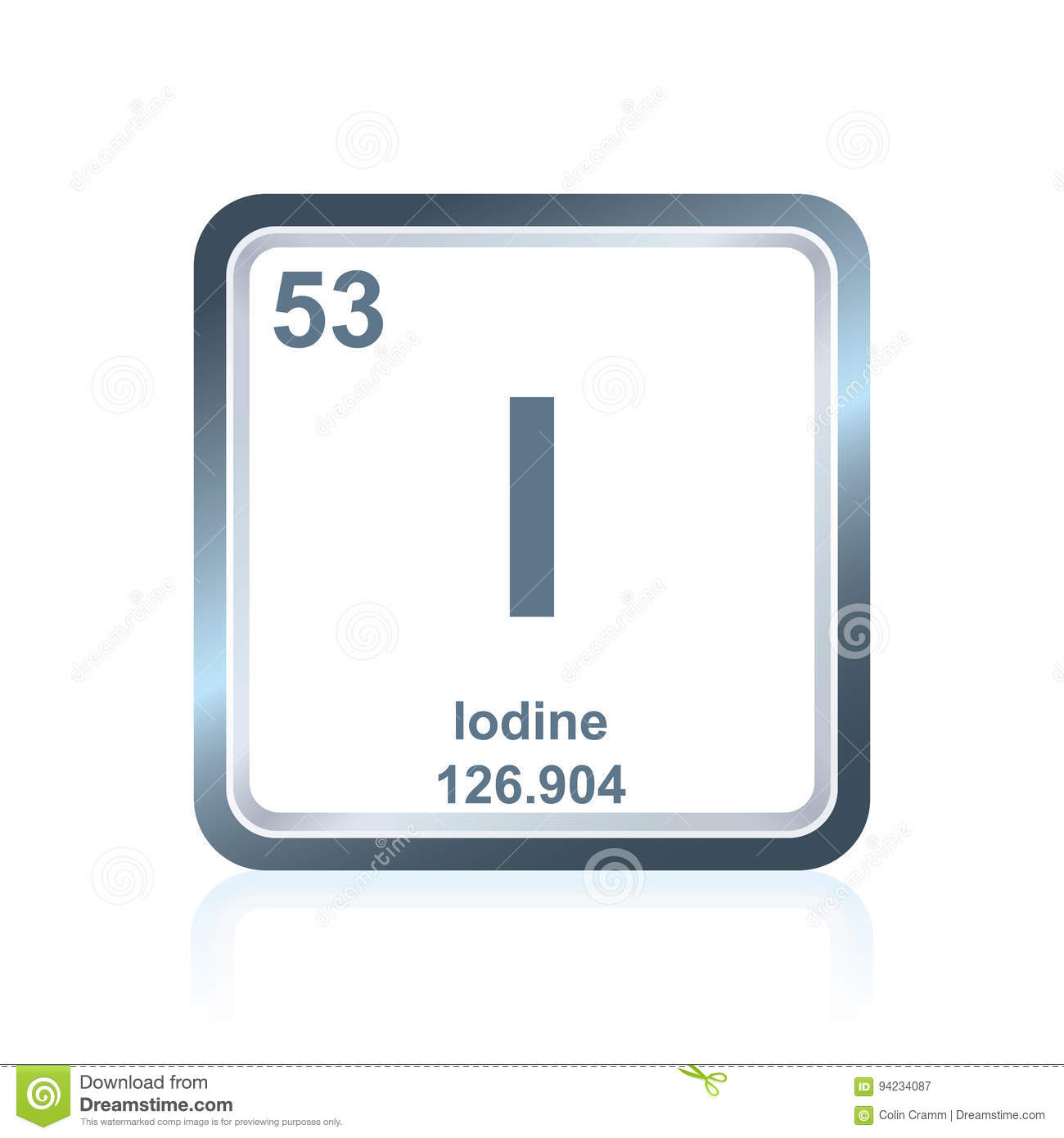 Chemical Element Iodine From The Periodic Table Stock Illustration