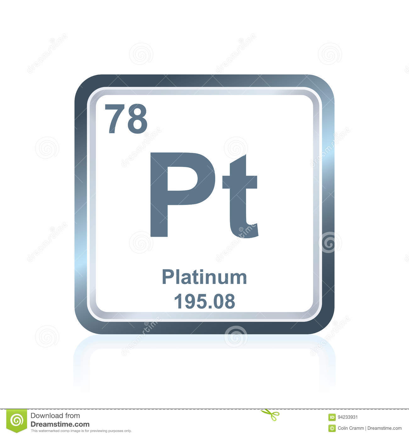 Chemical Element Platinum From The Periodic Table Stock Illustration
