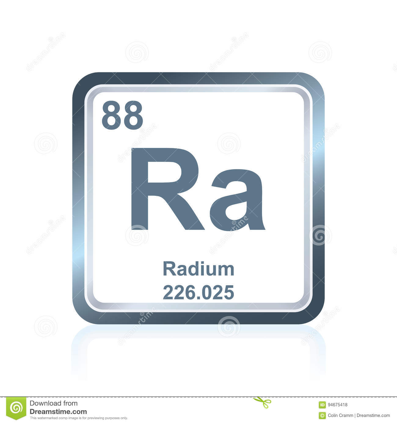 Chemical Element Radium From The Periodic Table Stock Vector