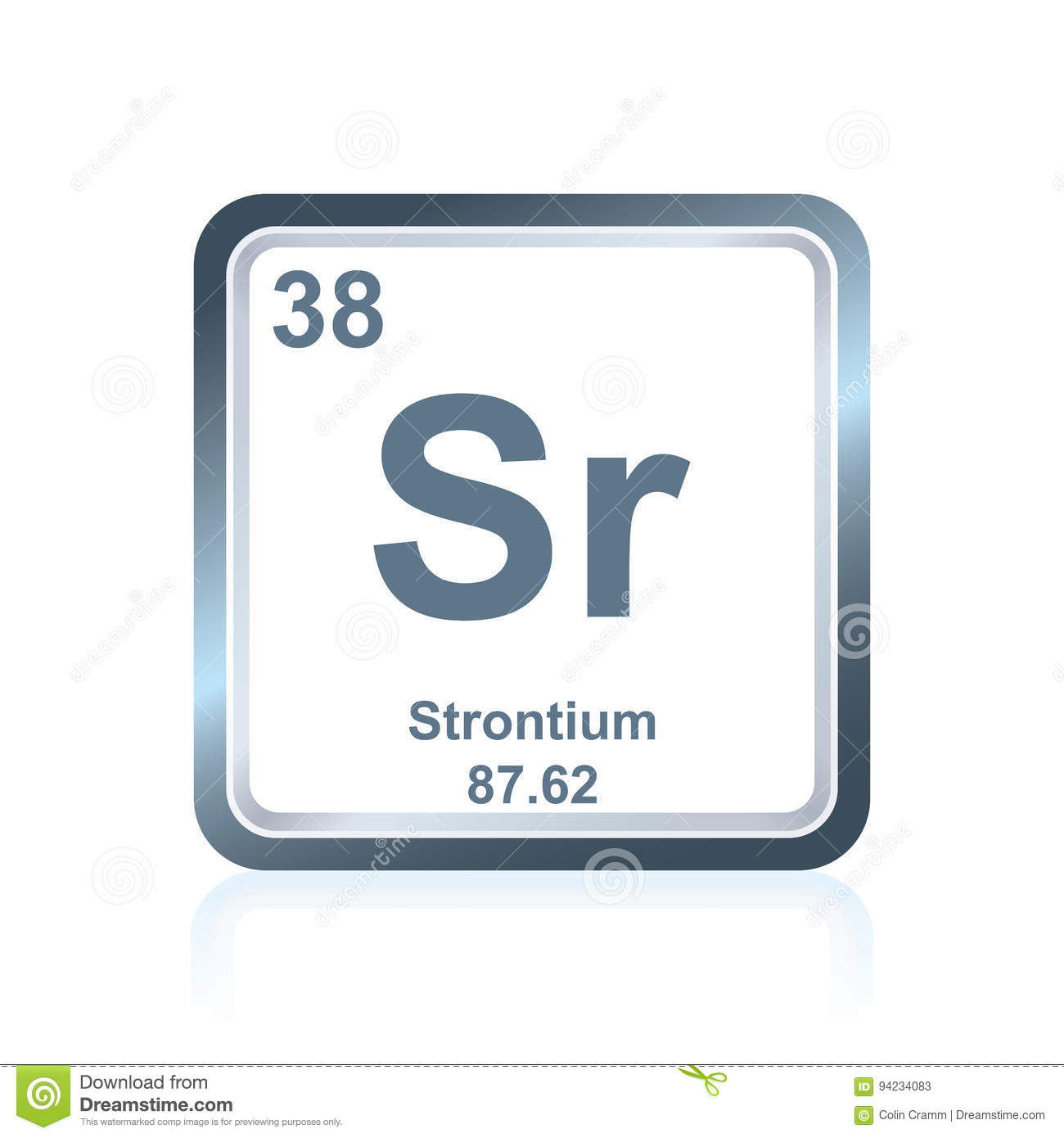 Chemical Element Strontium From The Periodic Table Stock