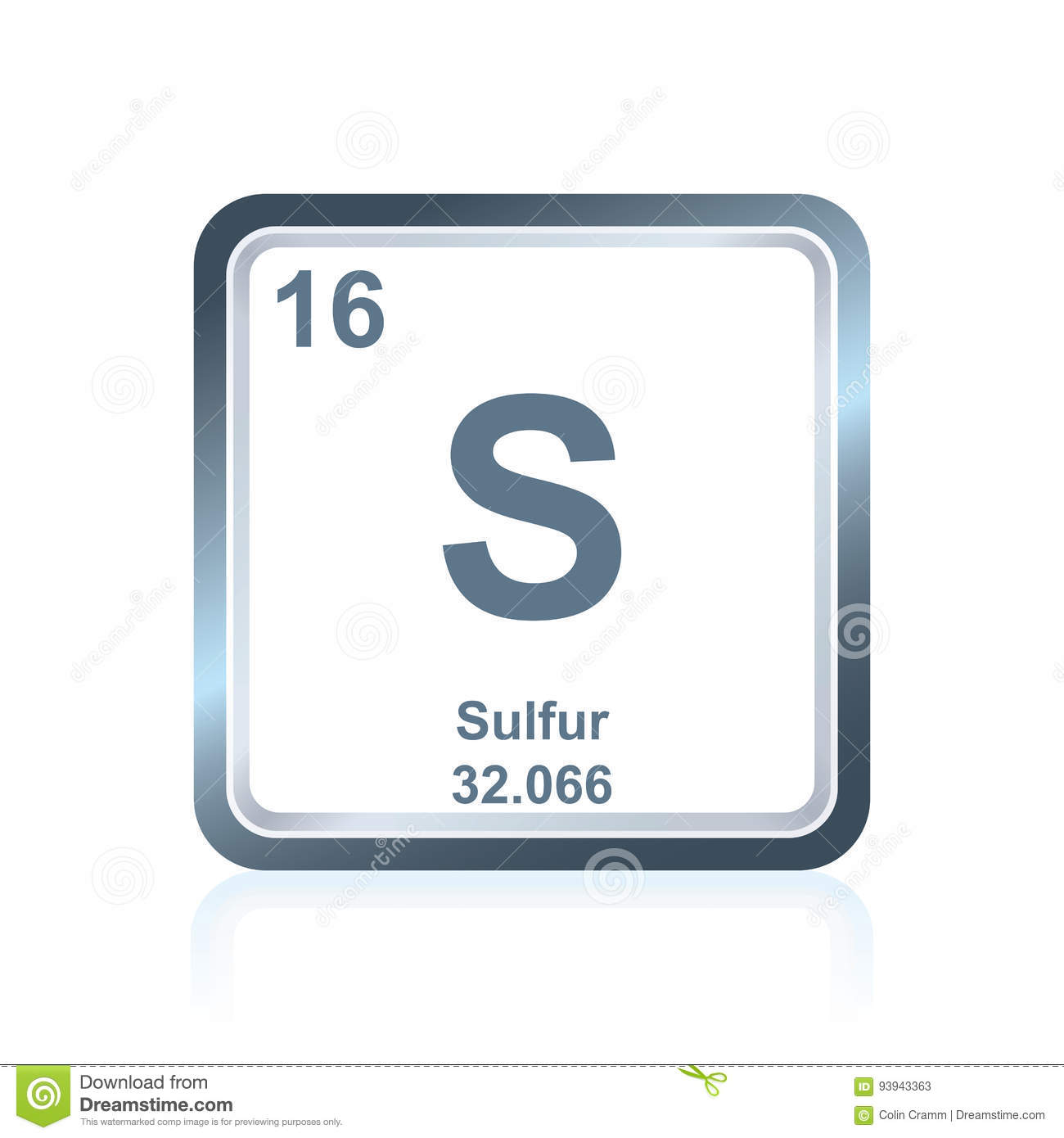 Chemical Element Sulfur From The Periodic Table Stock Vector