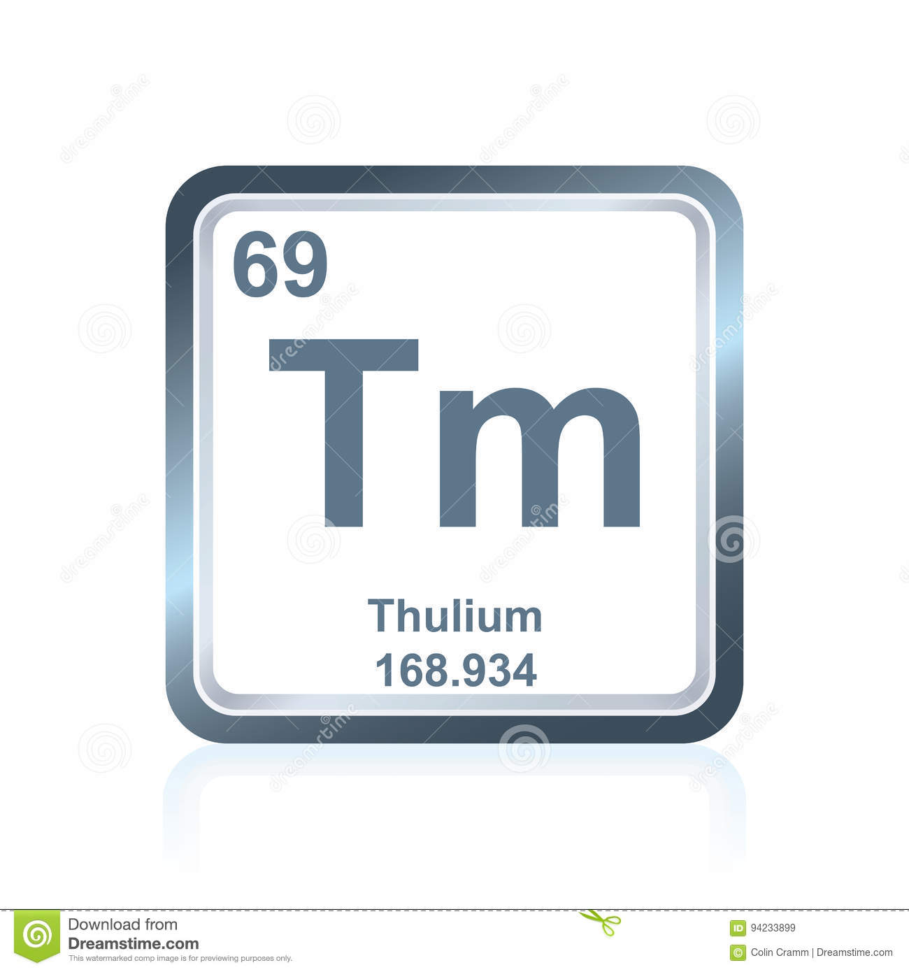 Chemical Element Thulium From The Periodic Table Stock Illustration