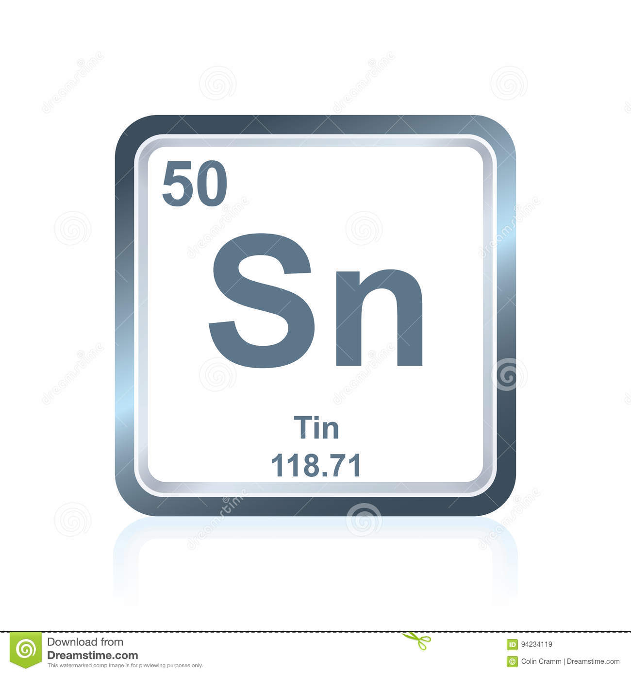 Chemical Element Tin From The Periodic Table Stock Illustration