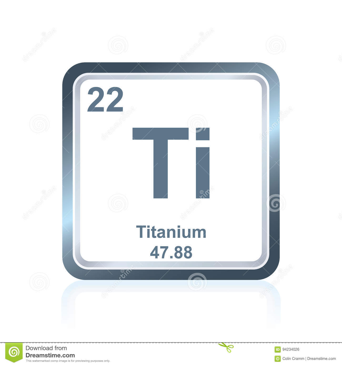 Chemical element titanium from the periodic table stock - Tungsten symbol periodic table ...