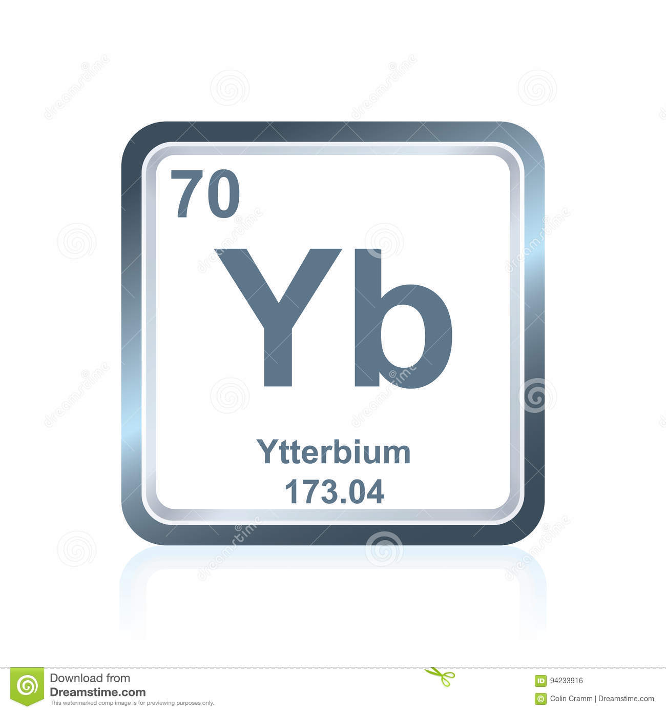 Chemical element ytterbium from the periodic table stock symbol of chemical element ytterbium as seen on the periodic table of the elements including atomic number and atomic weight urtaz Images