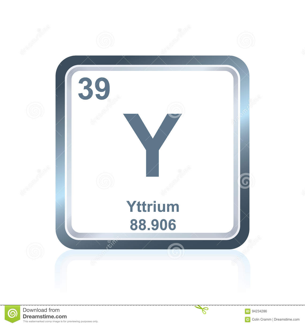Chemical Element Yttrium From The Periodic Table Stock Illustration