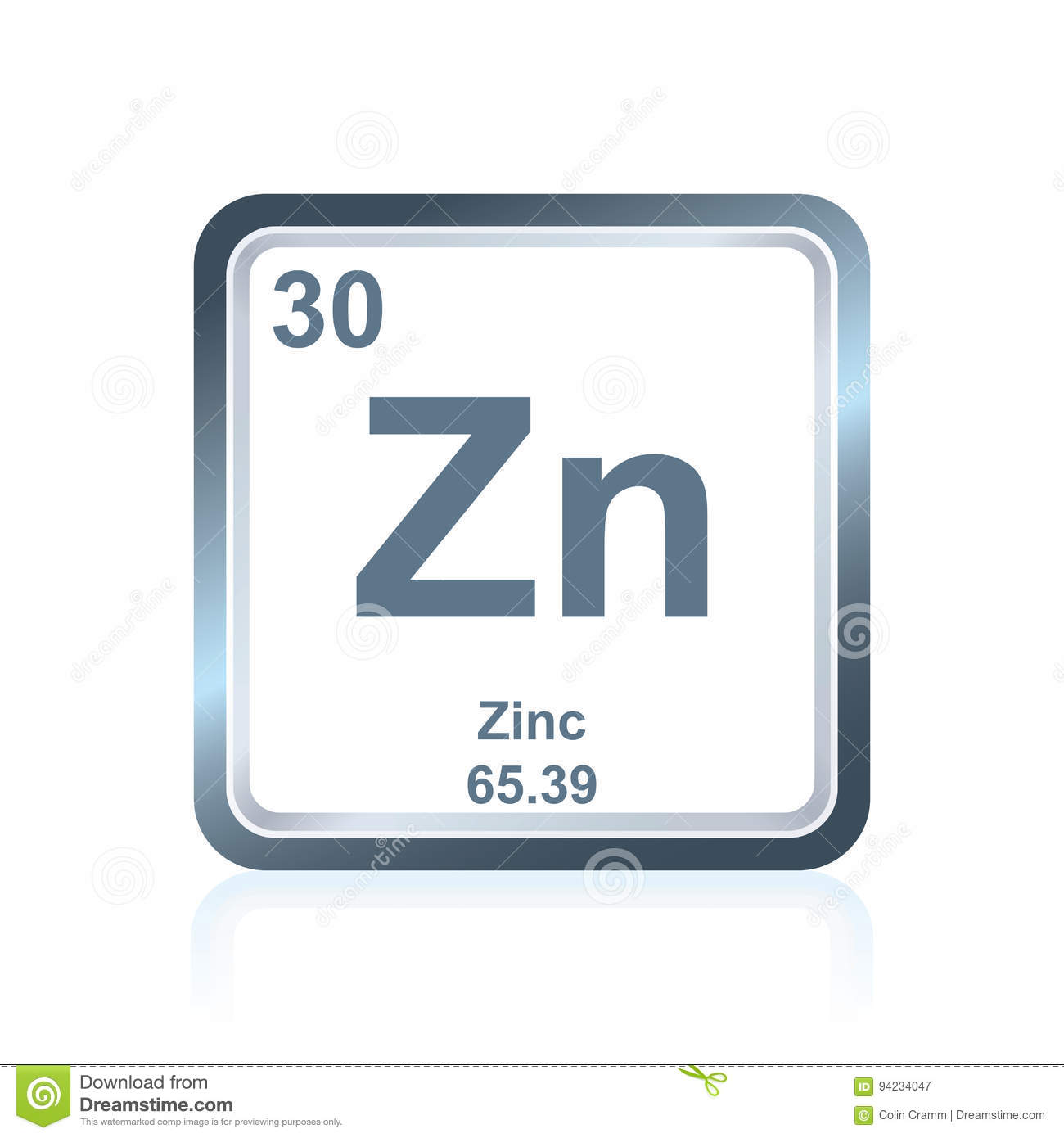 Download Chemical Element Zinc From The Periodic Table Stock Illustration    Illustration Of Elements, Chemistry