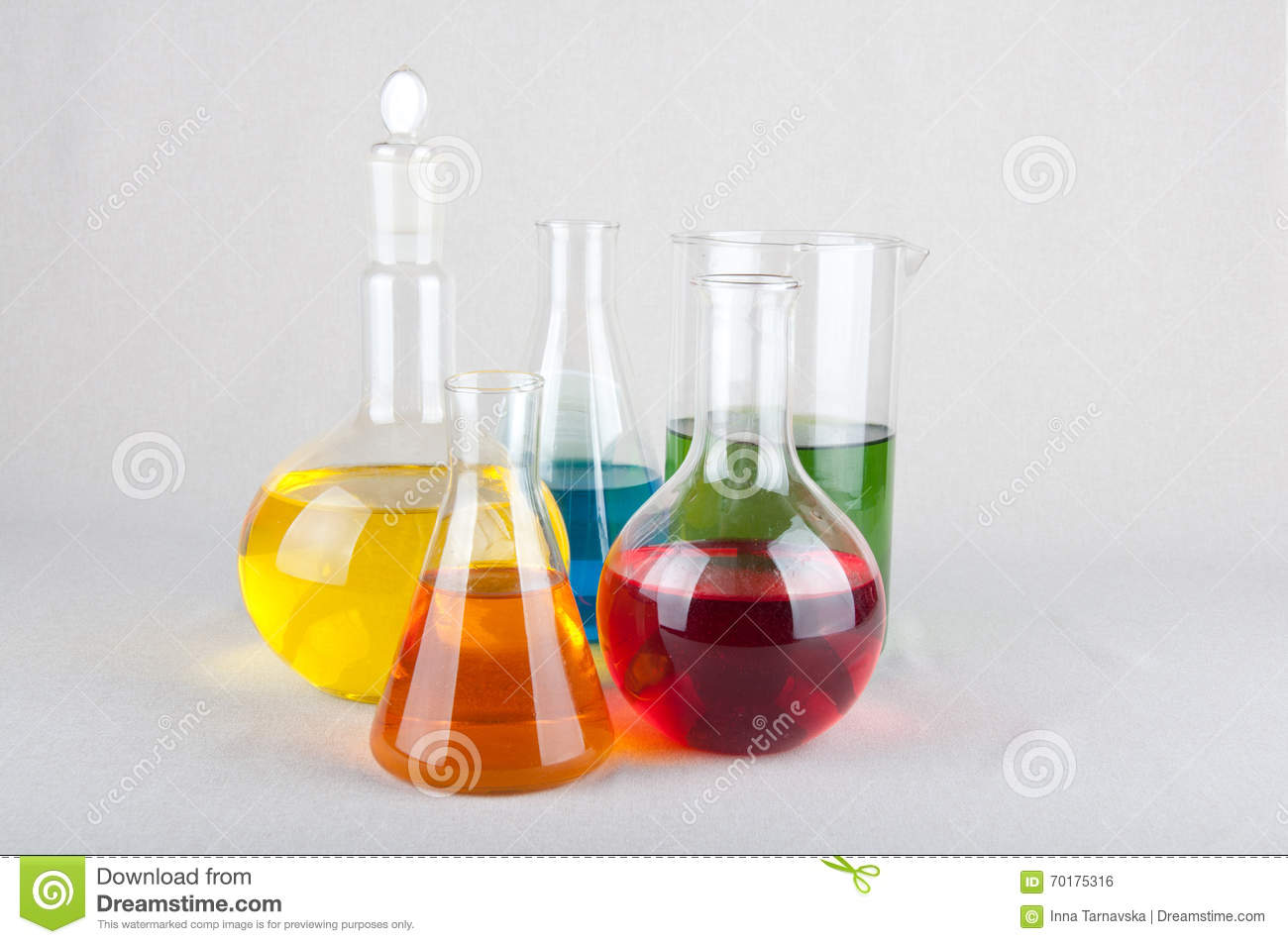 Chemical Flasks With Color Liquid On White Background Stock Photo ...