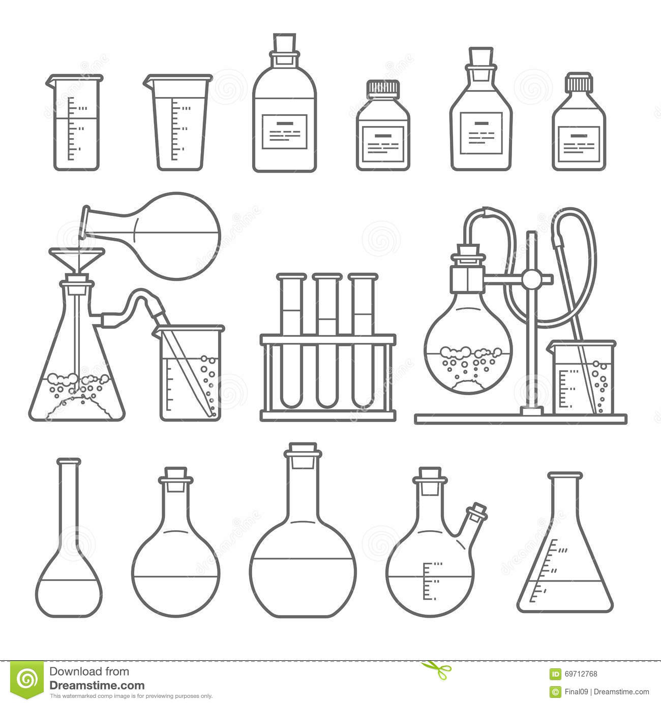 chemical glassware icon stock vector. illustration of microbiology