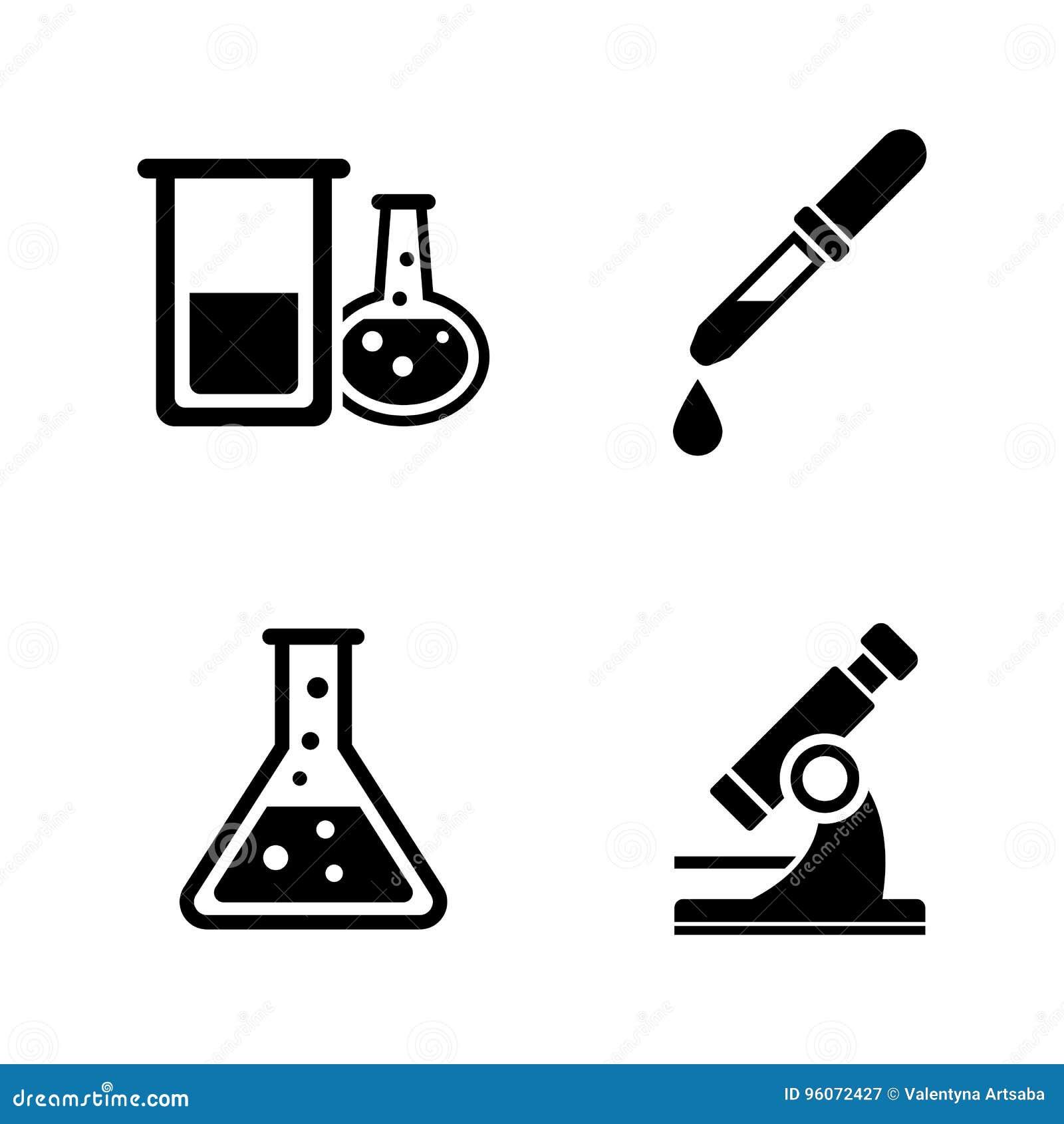 Chemical Iconos relacionados simples del vector