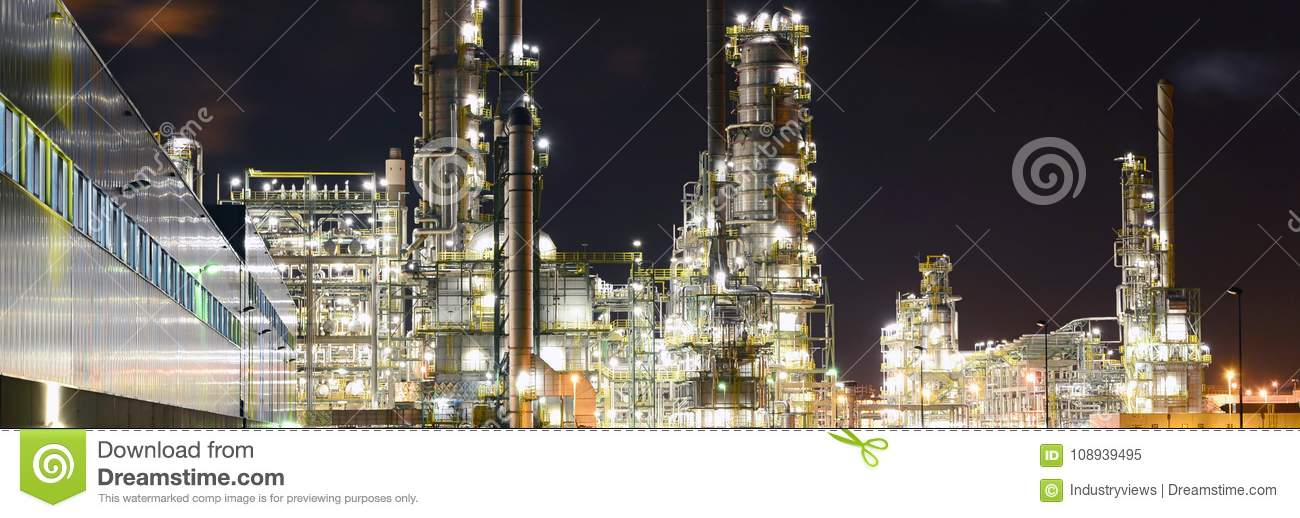 Chemical industry plant at night - building of a factory for the