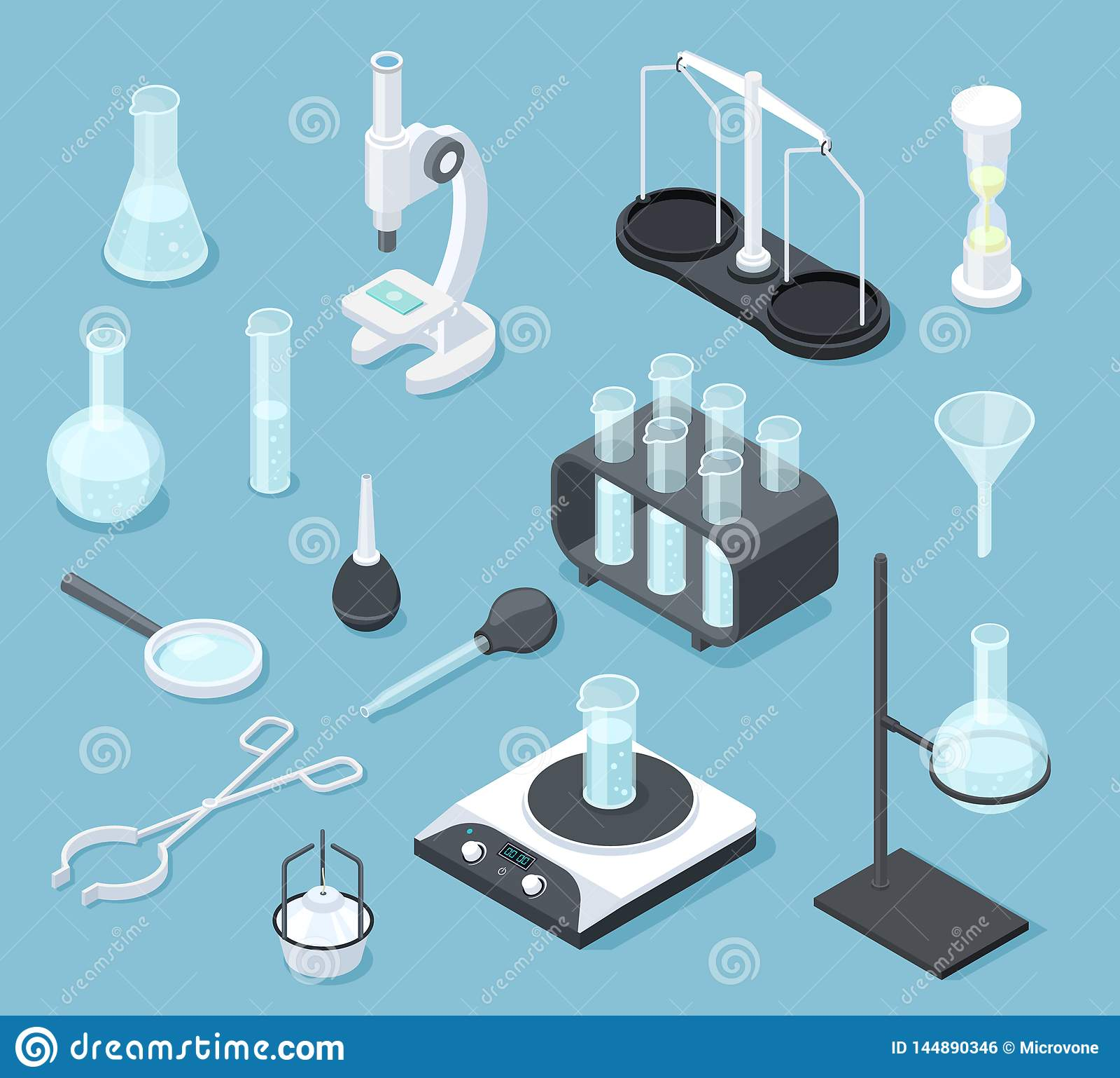 Chemical Laboratory Equipment Isometric  Lab Glasses Drug