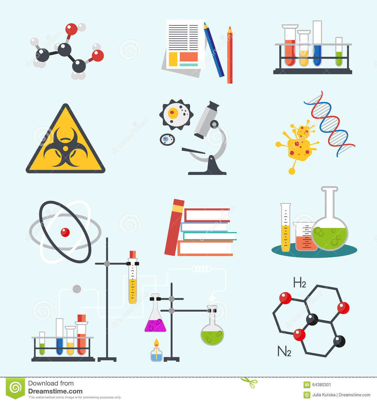 Chemical laboratory science and technology flat style design vector illustration icons. Workplace tools