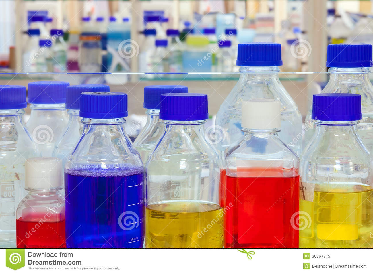 chemical solutions in a laboratory royalty free stock photo