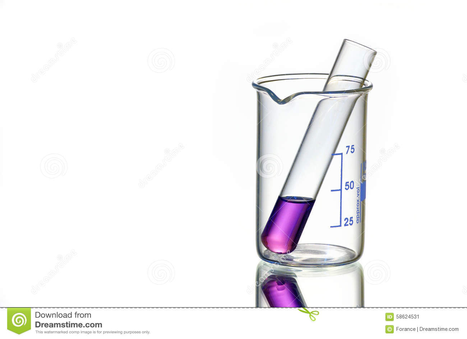 Chemical In Test Tube In Beaker Stock Photo - Image: 58624531