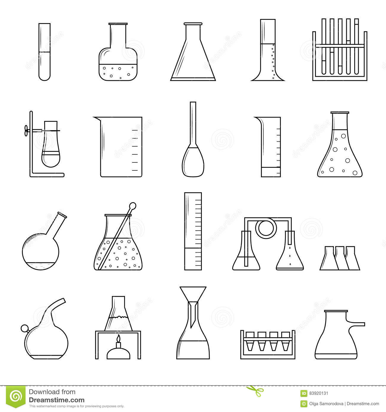 Line Drawing Rules Chemistry : Chemistry laboratory vector outline icon set