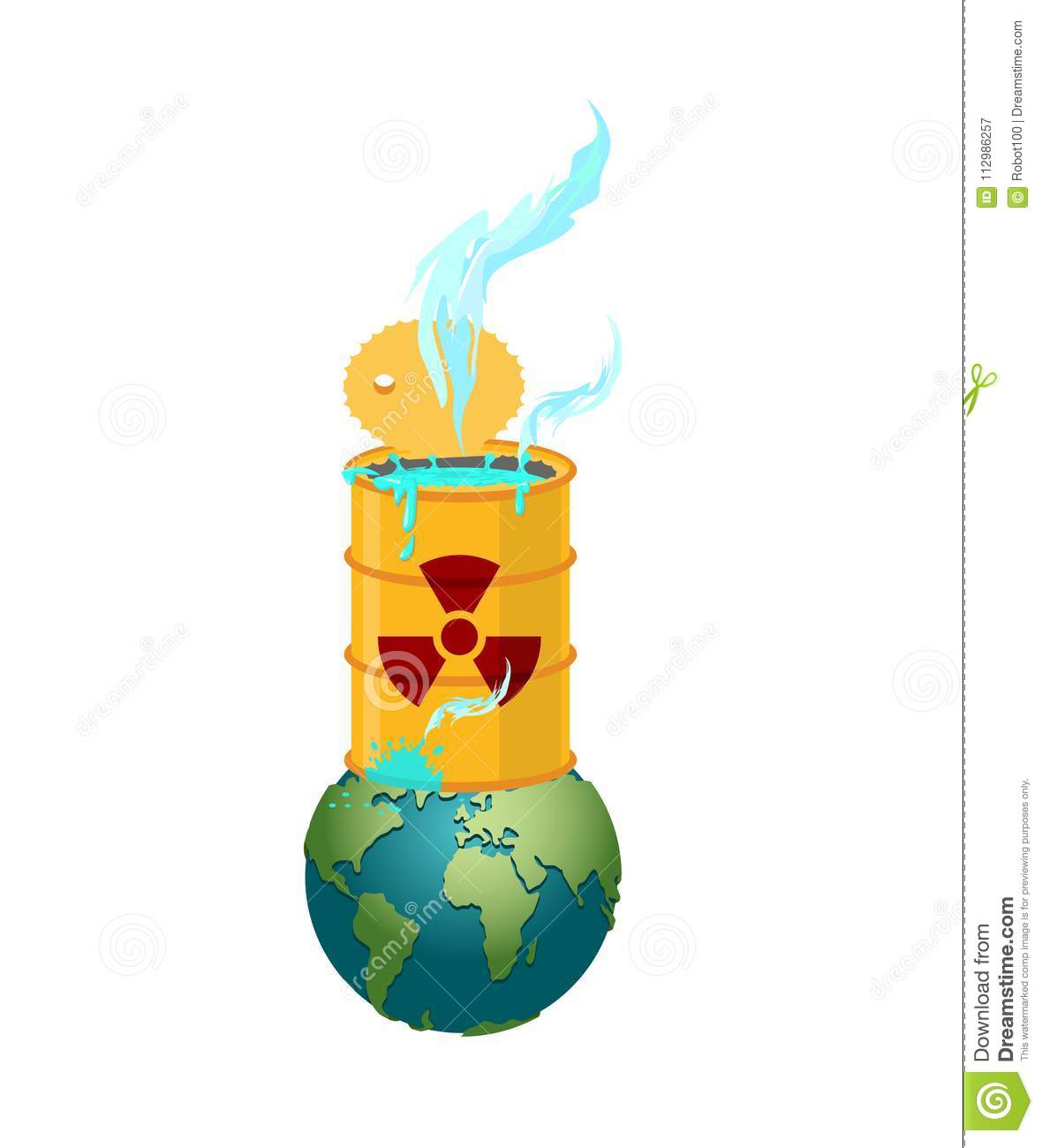 Chemical waste Barrel and earth. Pollution of planet. Nuclear wa