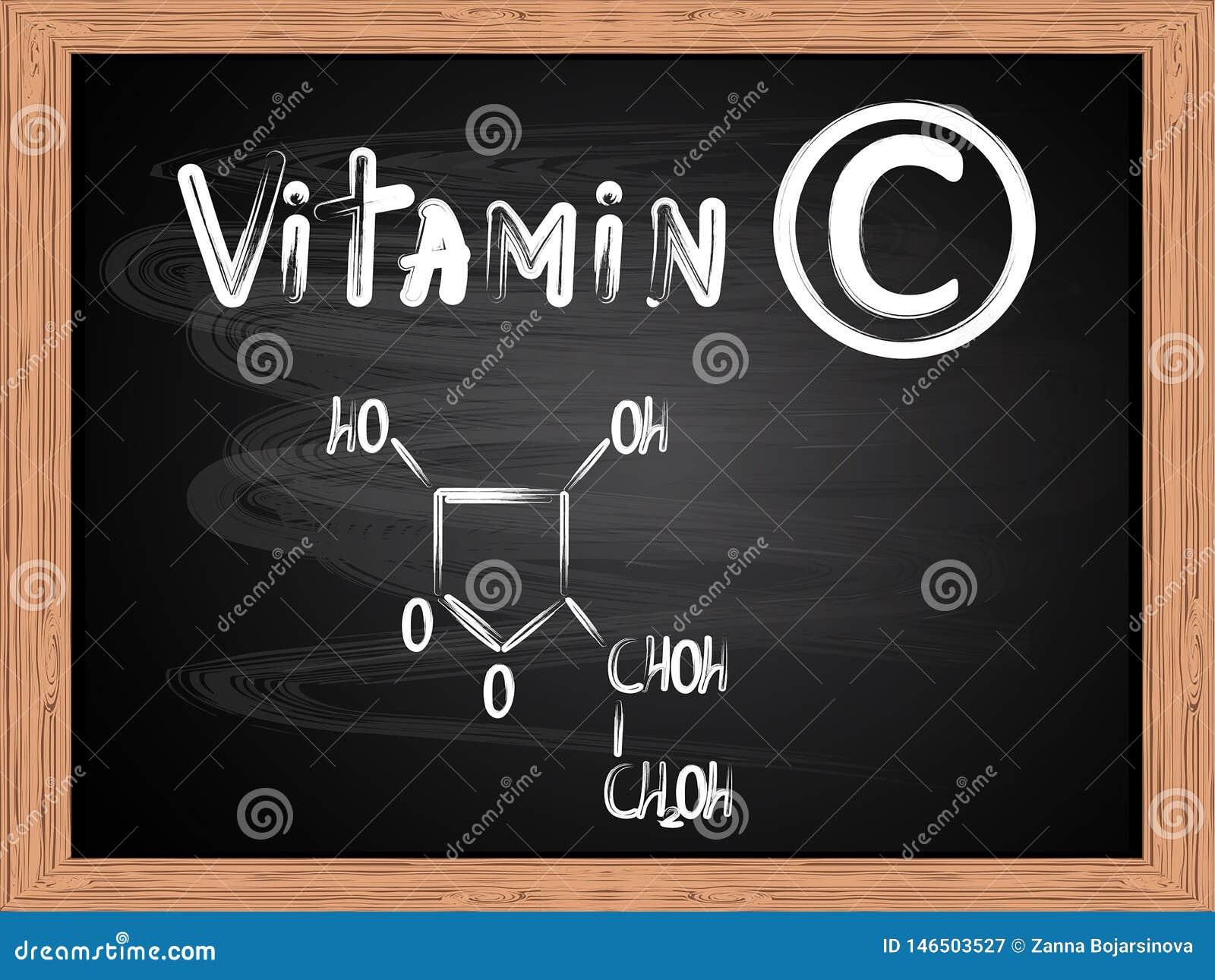 Chemiczna formuła pisać na blackboard witamina C