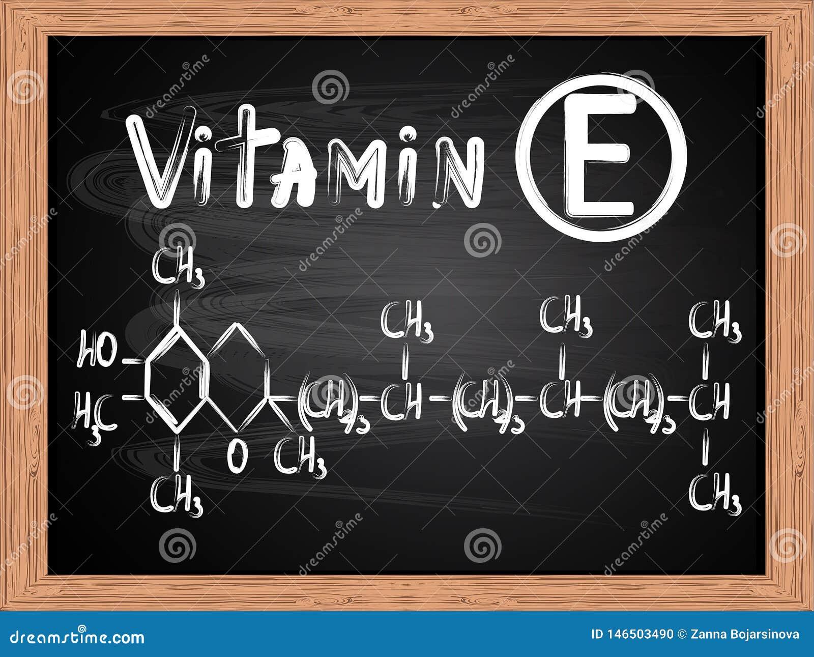 Chemiczna formuła pisać na blackboard witamina E