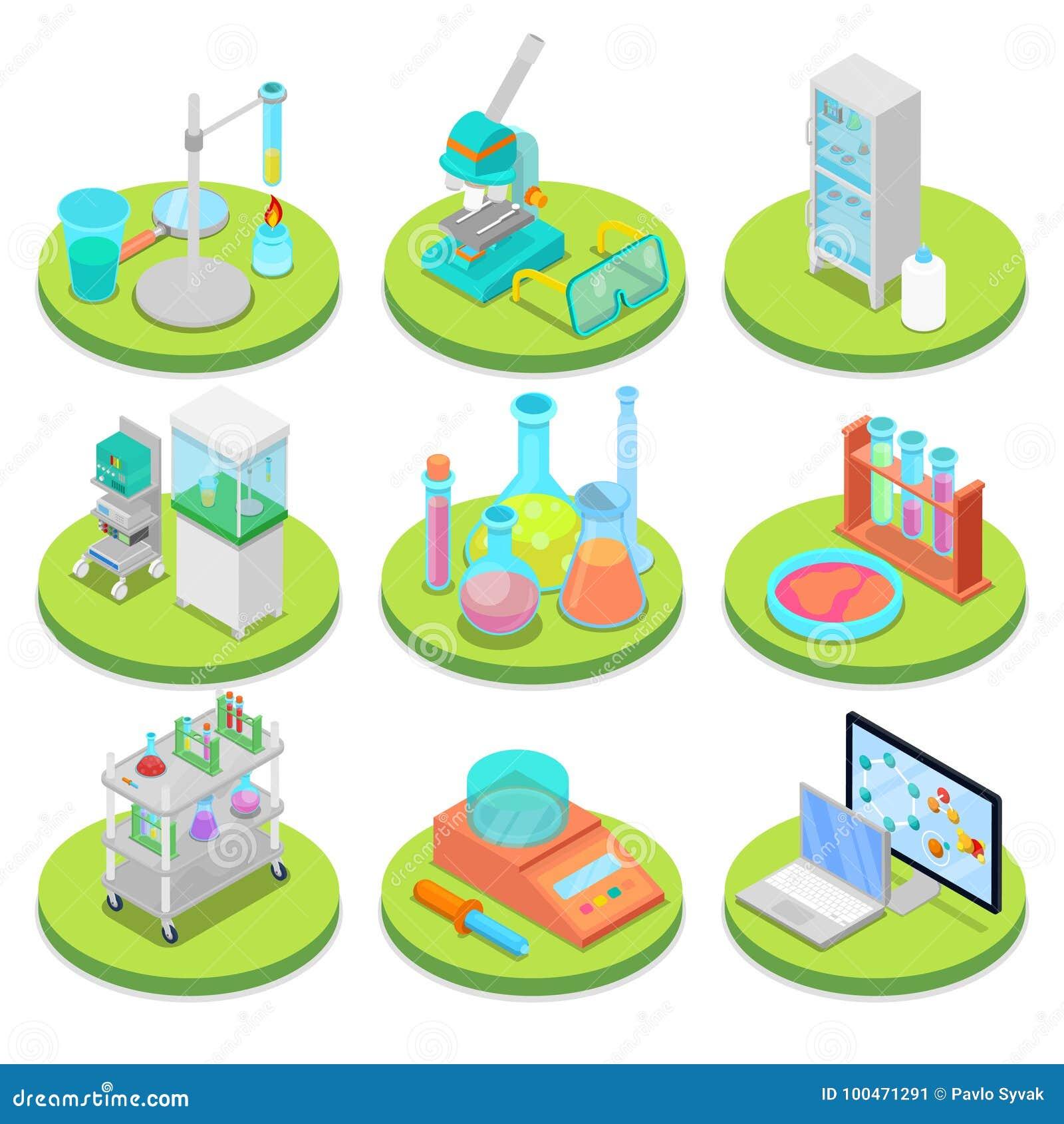 Chemie-Wissenschafts-Labor isometrisch Pharmazeutik, Forschungs-Experiment, chemische Technologie