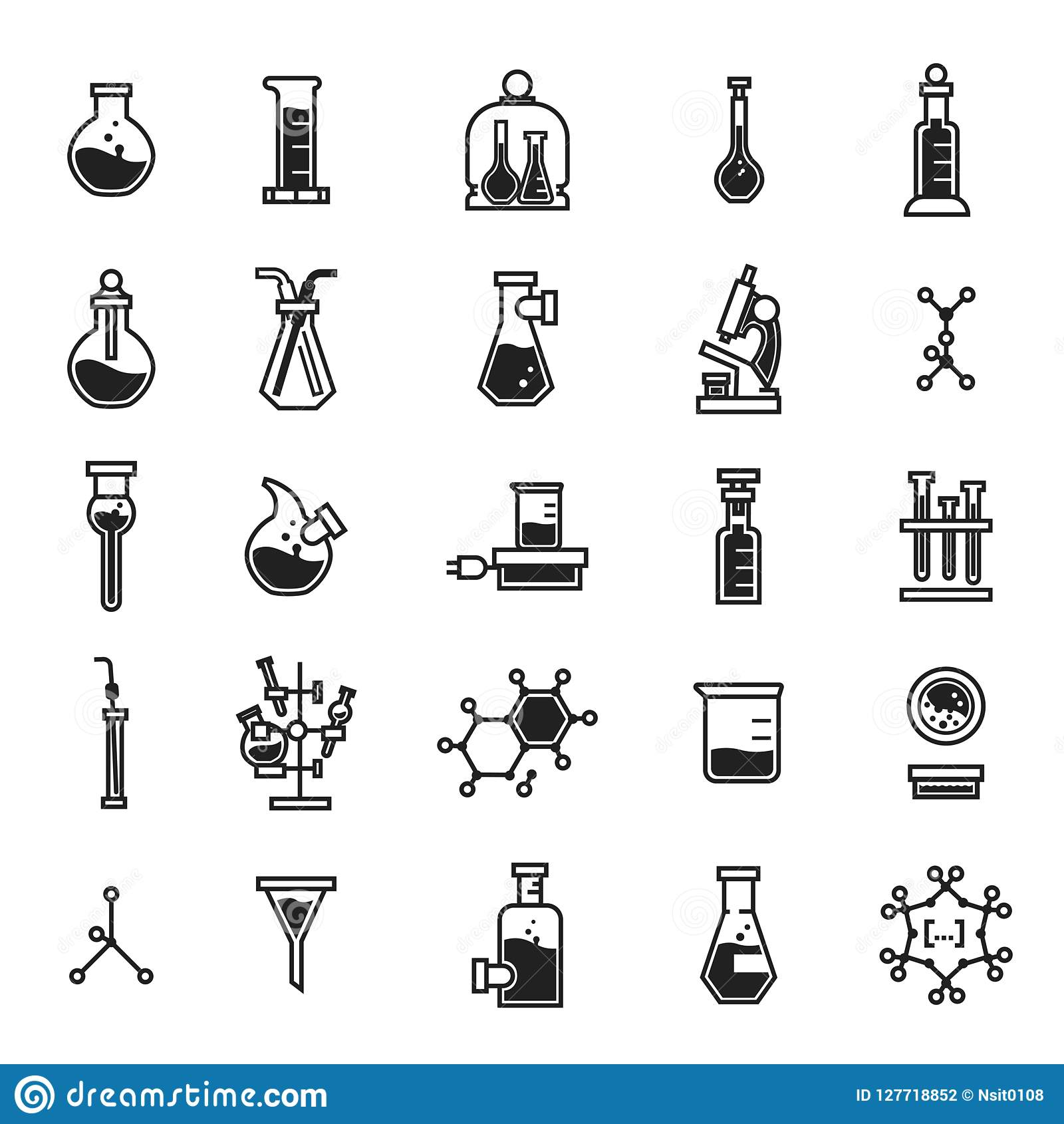 Chemii ikony set, prosty styl