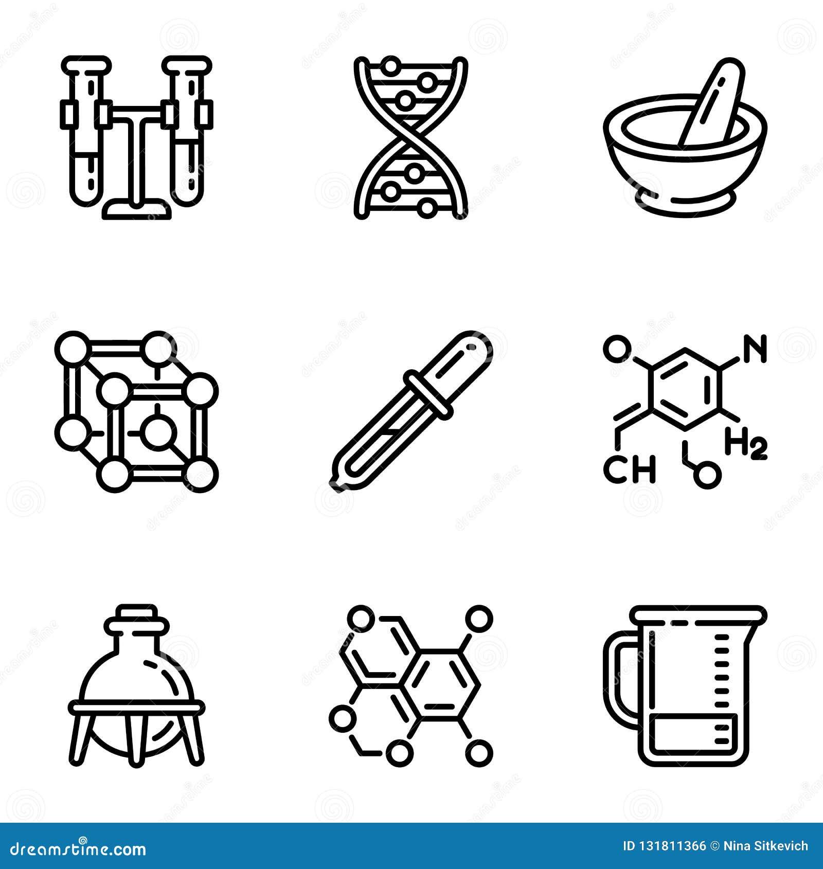 Chemii nauki ikony set, konturu styl