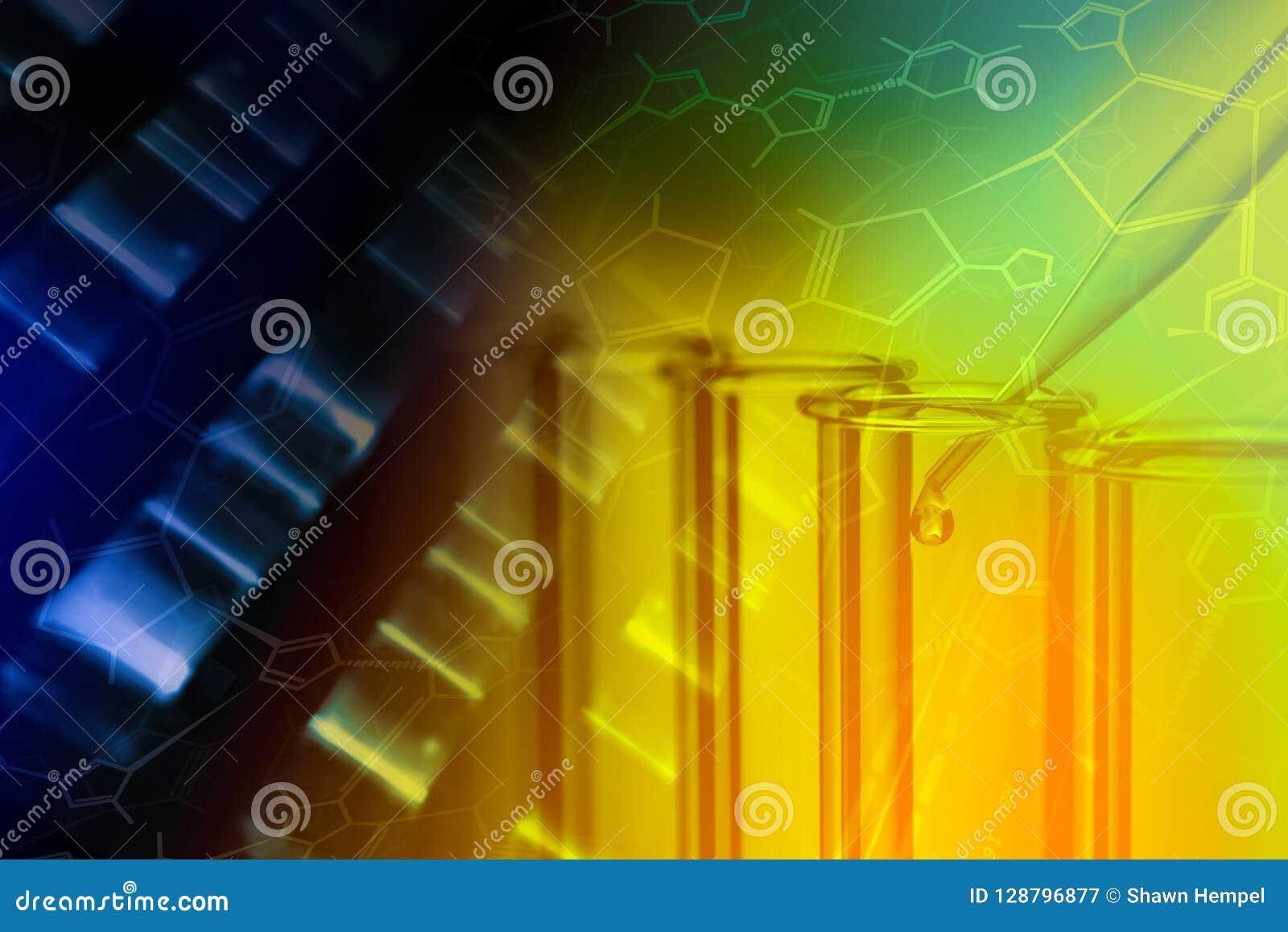 Chemii próbne tubki i DNA analiza z formalnie chemią