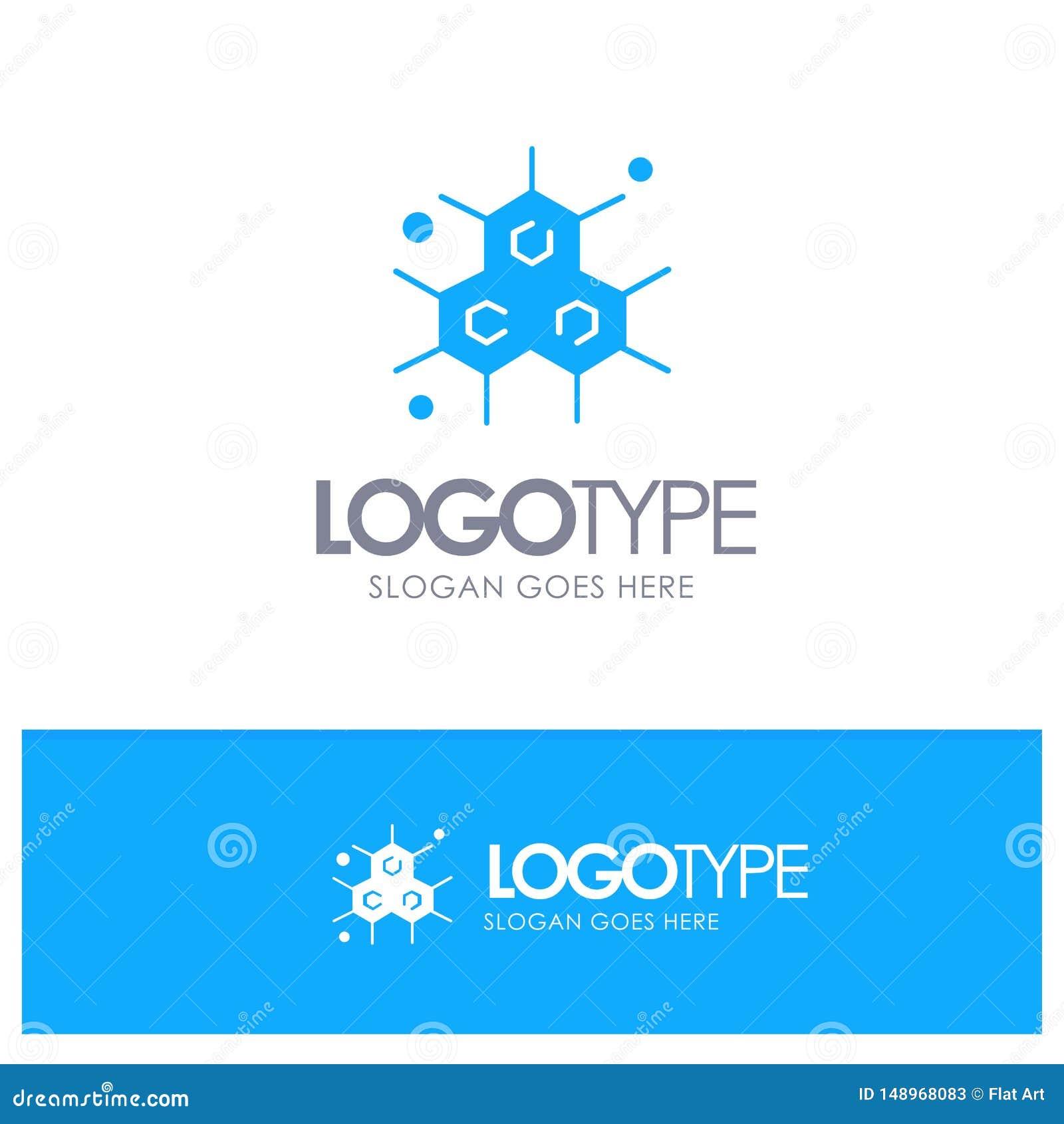 Chemik, Cząsteczkowy, nauka Błękitny Stały logo z miejscem dla tagline