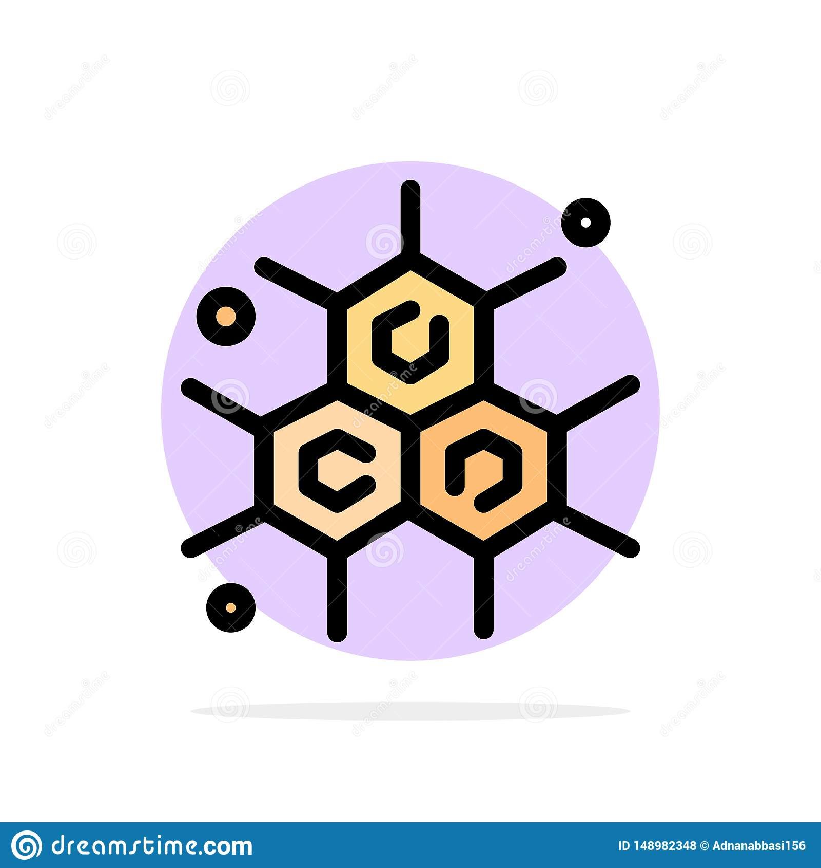 Chemik, Cząsteczkowy, nauka okręgu Abstrakcjonistycznego tła koloru Płaska ikona