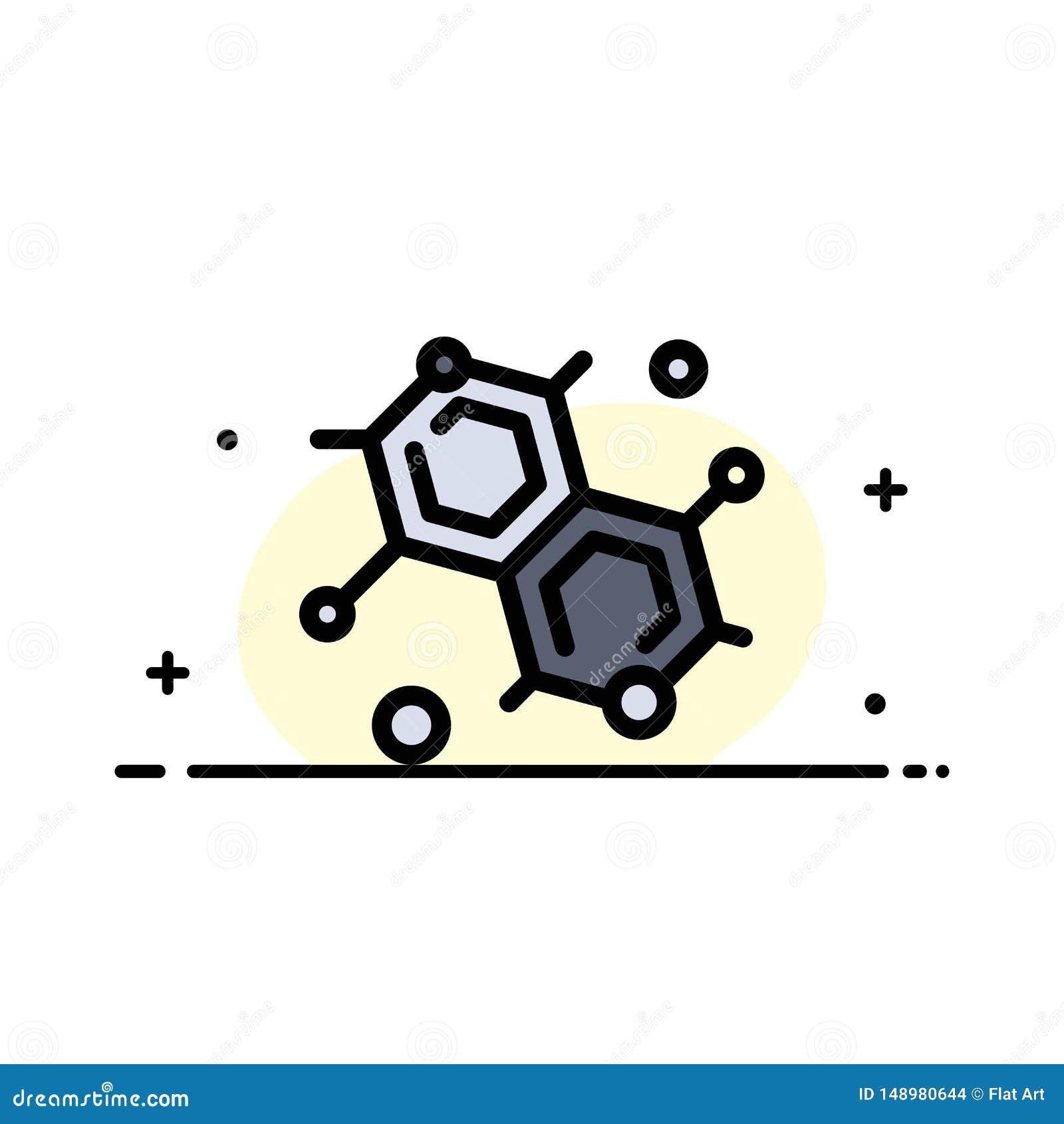 Chemik, Cząsteczkowy, nauki mieszkania ikony sztandaru Biznesowa linia Wypełniający Wektorowy szablon