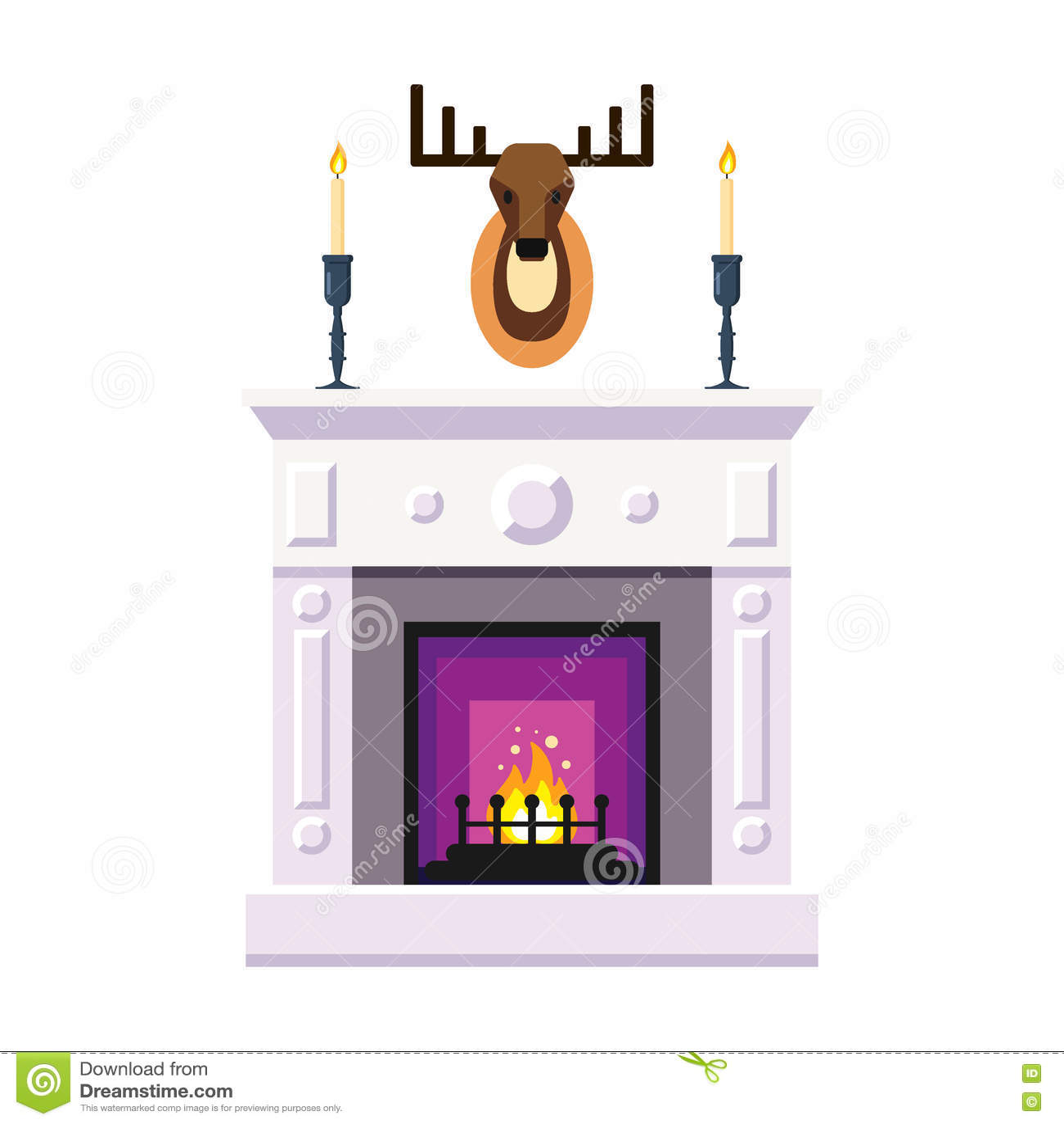 Cheminée avec des cerfs communs entendus bougie mettez le feu à l intérieur à la