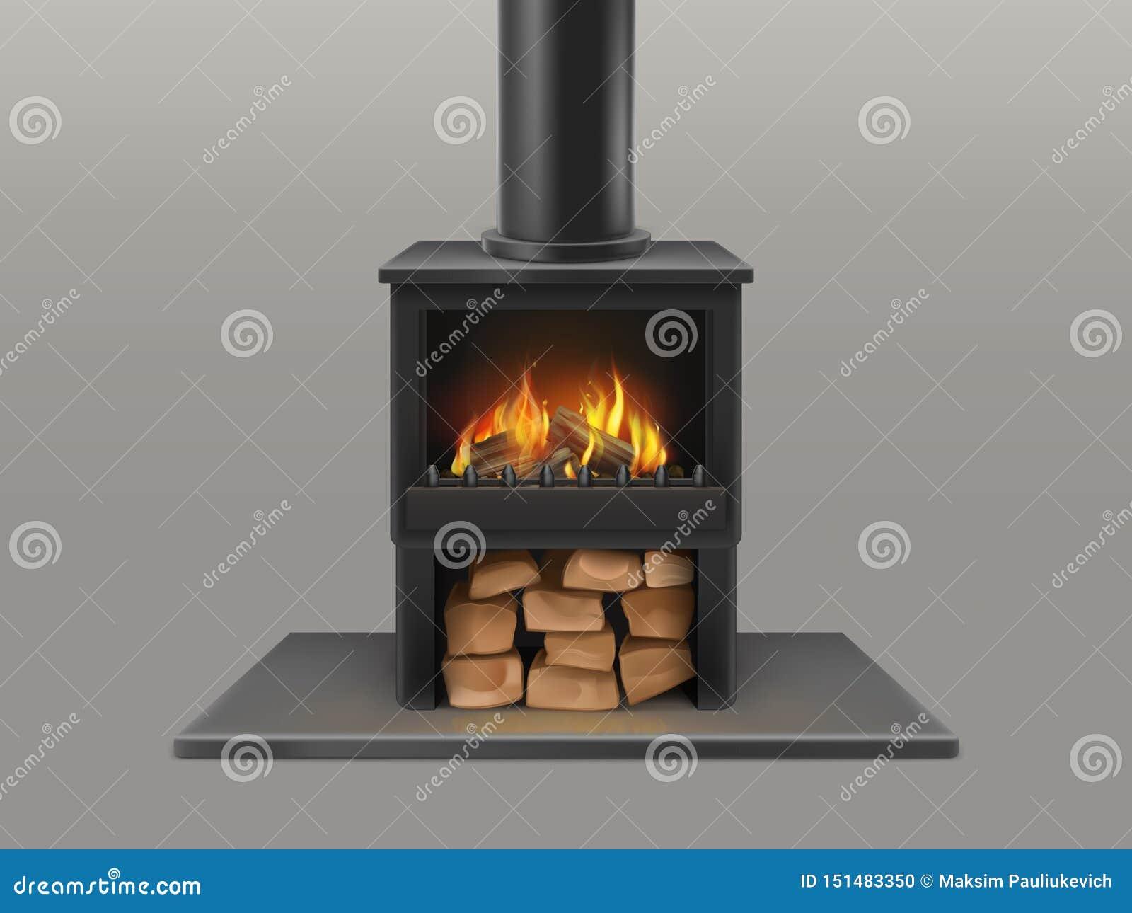 Cheminée avec le bois de chauffage brûlant à l intérieur du vecteur