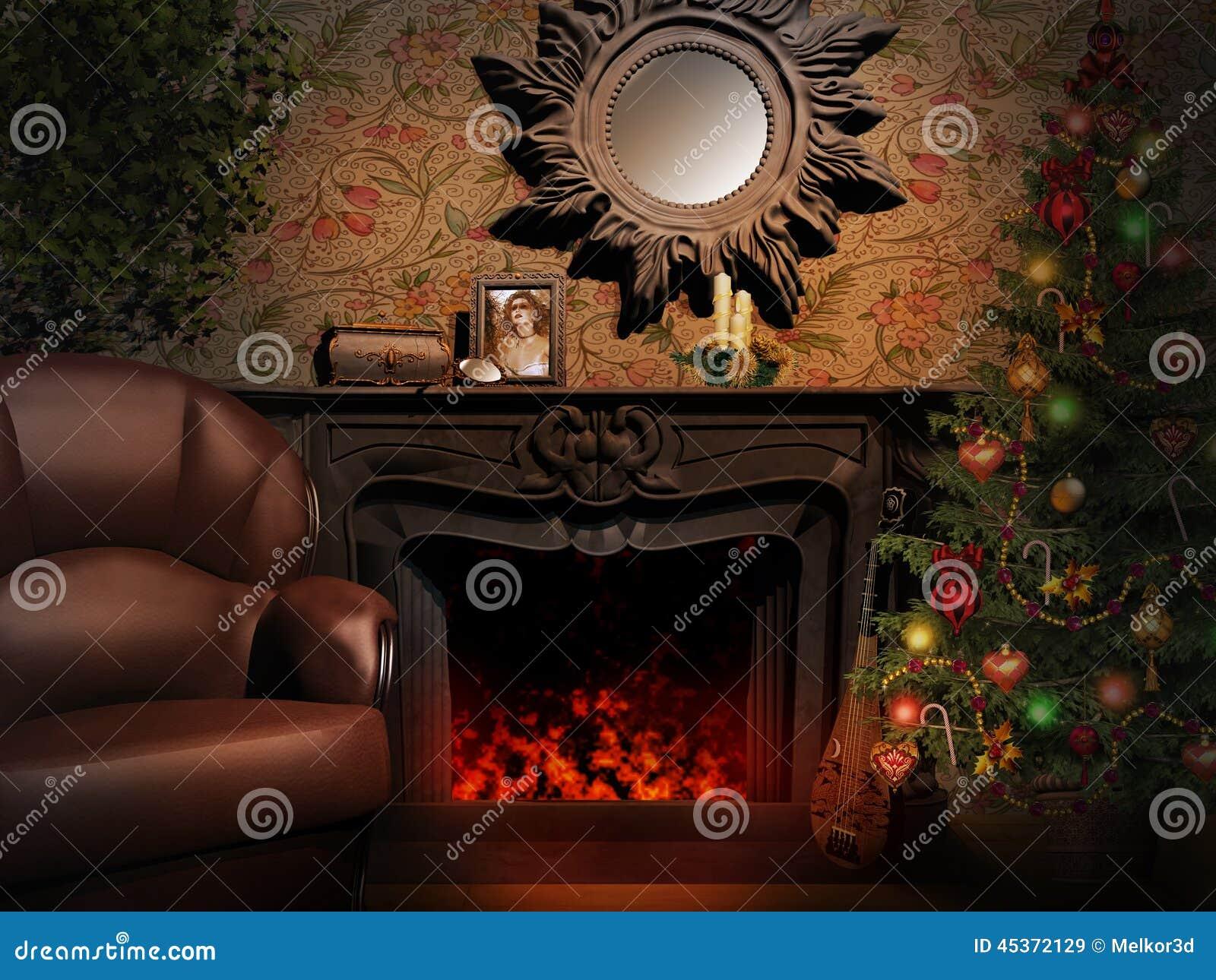 Cheminée avec un miroir et un arbre de Noël