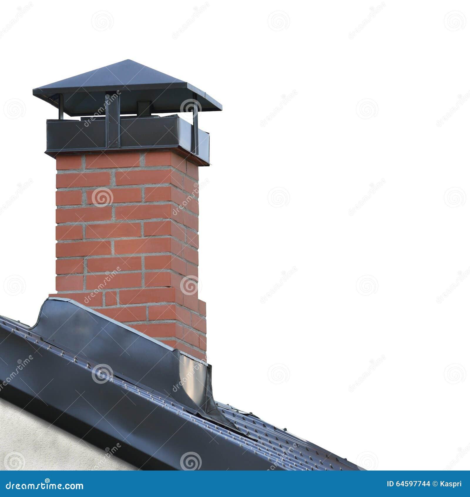 Cheminée de brique rouge, Grey Steel Tile Roof Texture, Gray Tiled Roofing, grand plan rapproché vertical d isolement détaillé, r