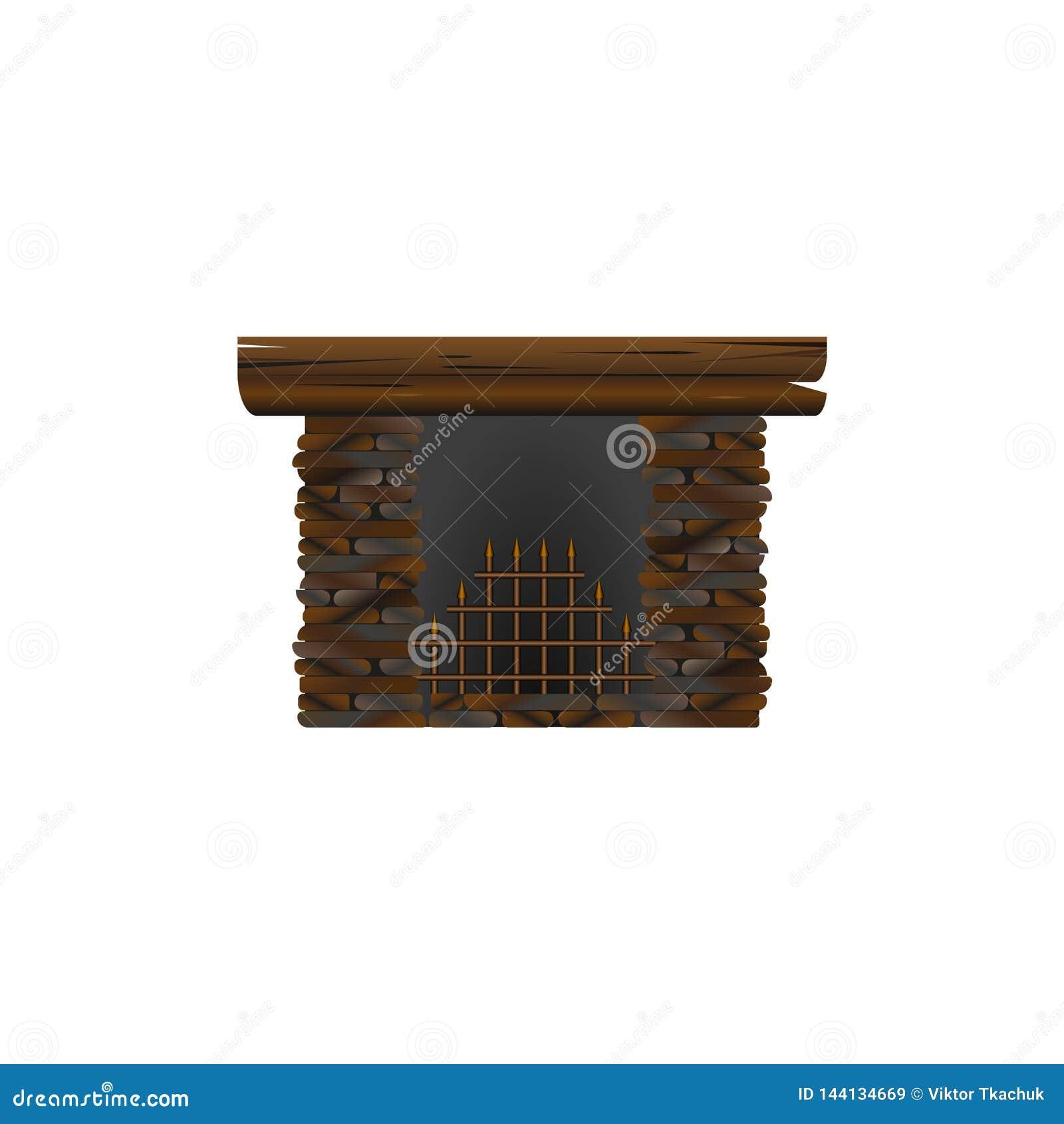 Cheminée faite en pierre pour l intérieur nIsolated sur le fond blanc