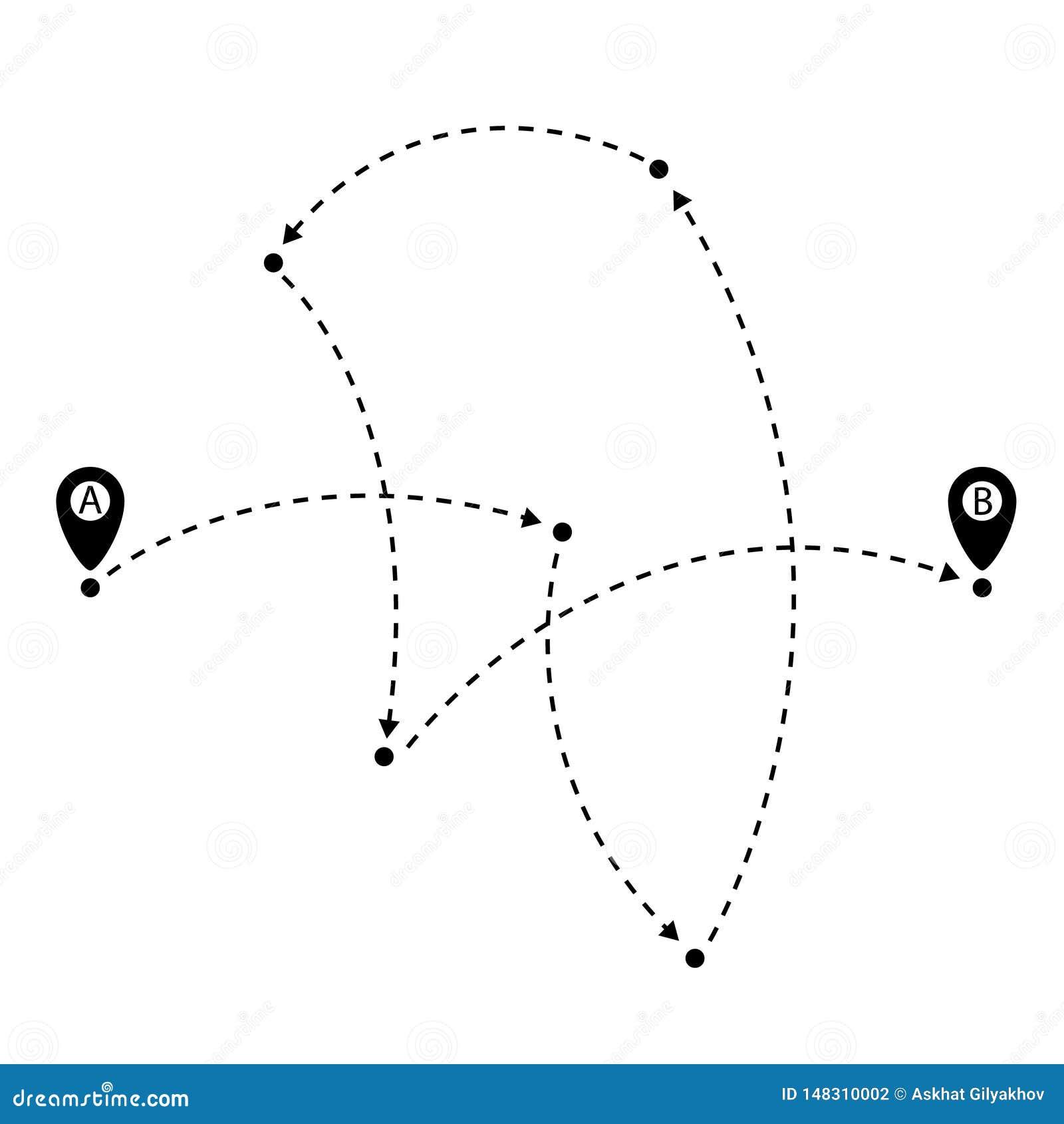 Chemin d A au point de B, goupilles de carte avec la trace Illustration de vecteur