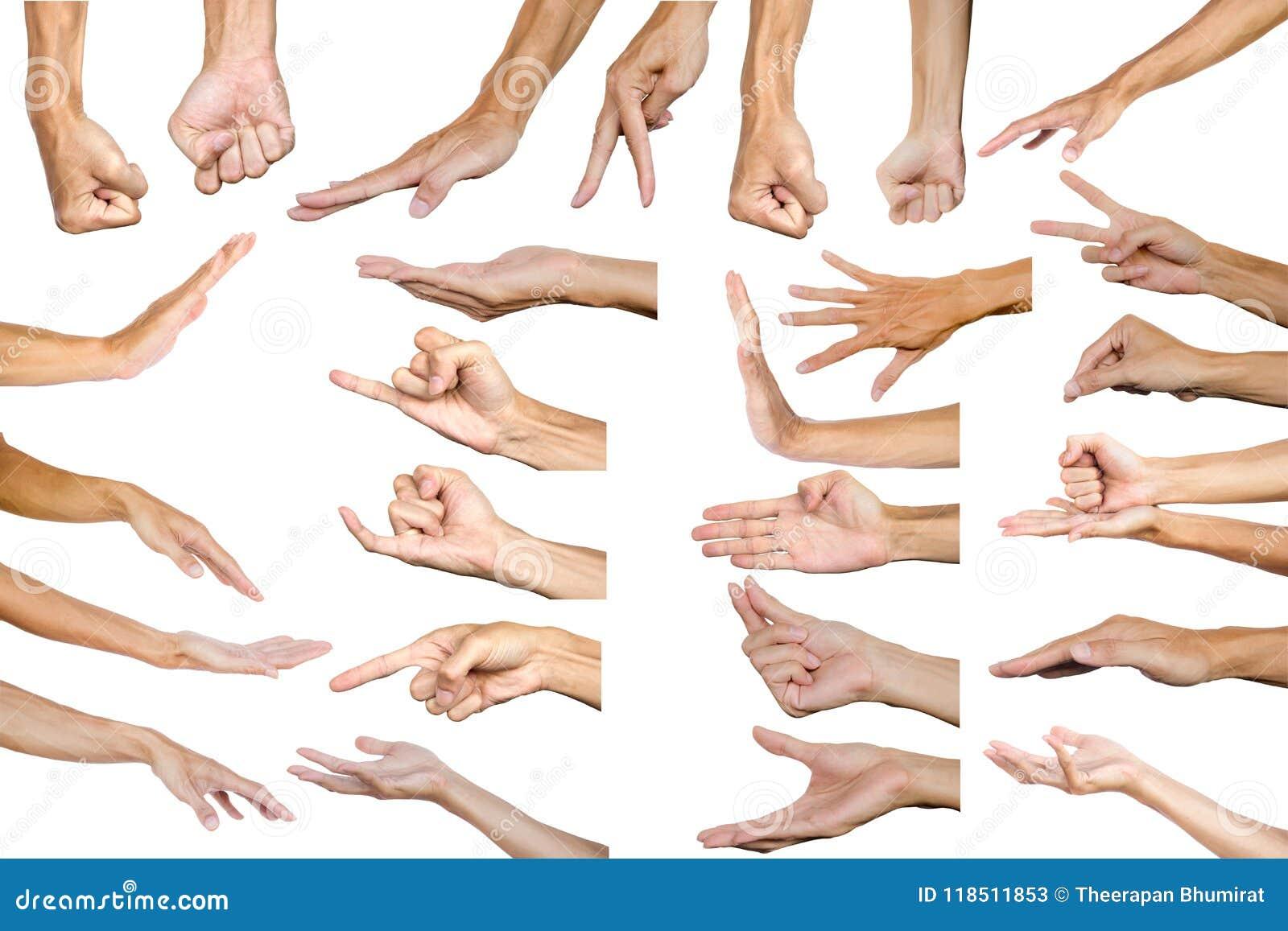 Chemin de coupure de geste de main masculin multiple d isolement sur le Ba blanc