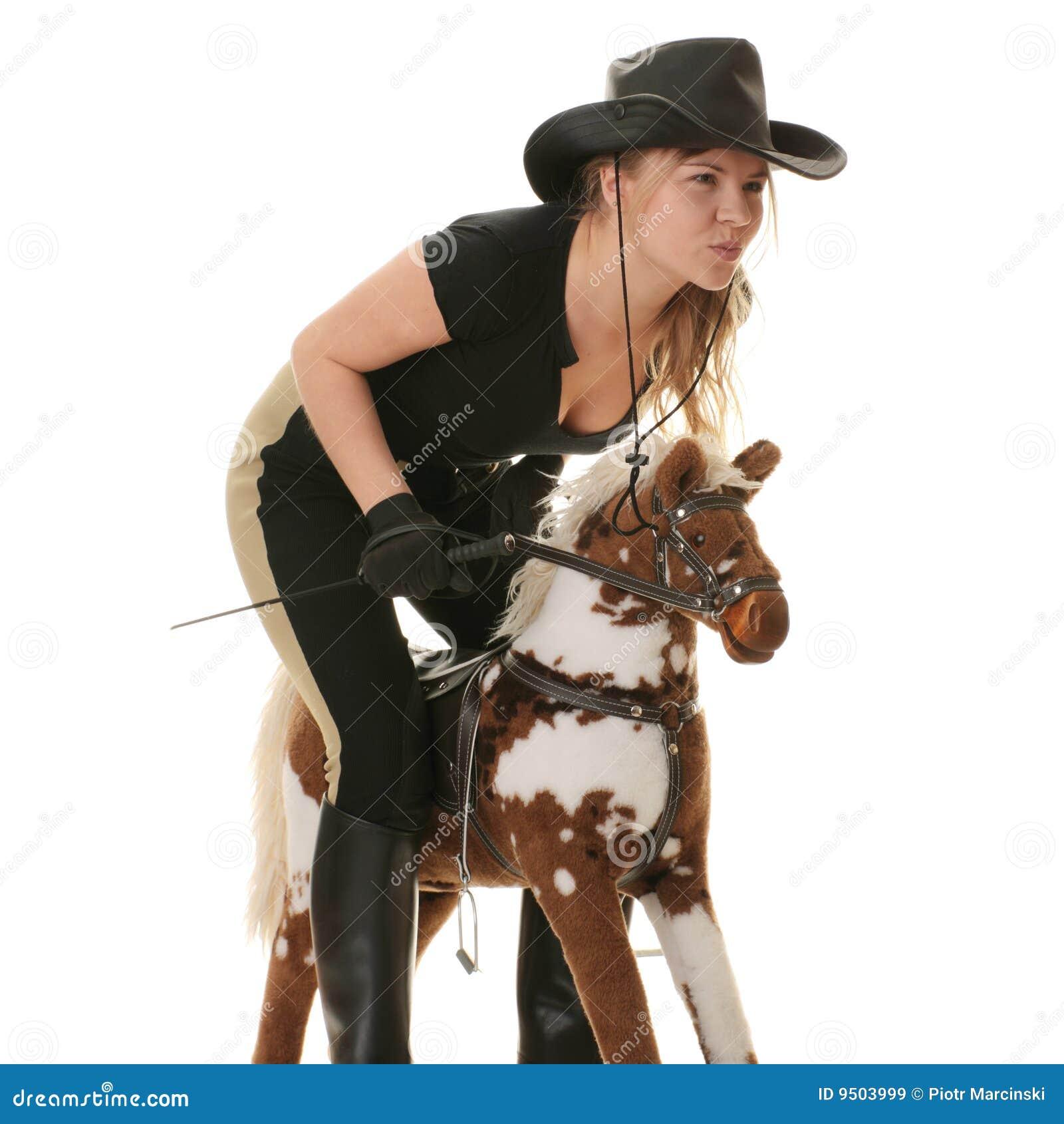 Chemin de jockey de hobbyhorse de cow-girl