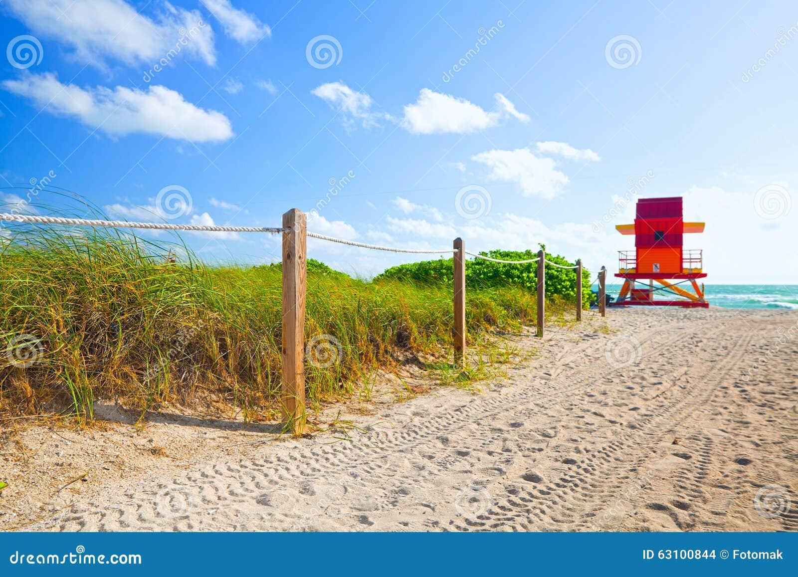 Chemin du sable allant à la plage et à l océan dans Miami Beach la Floride