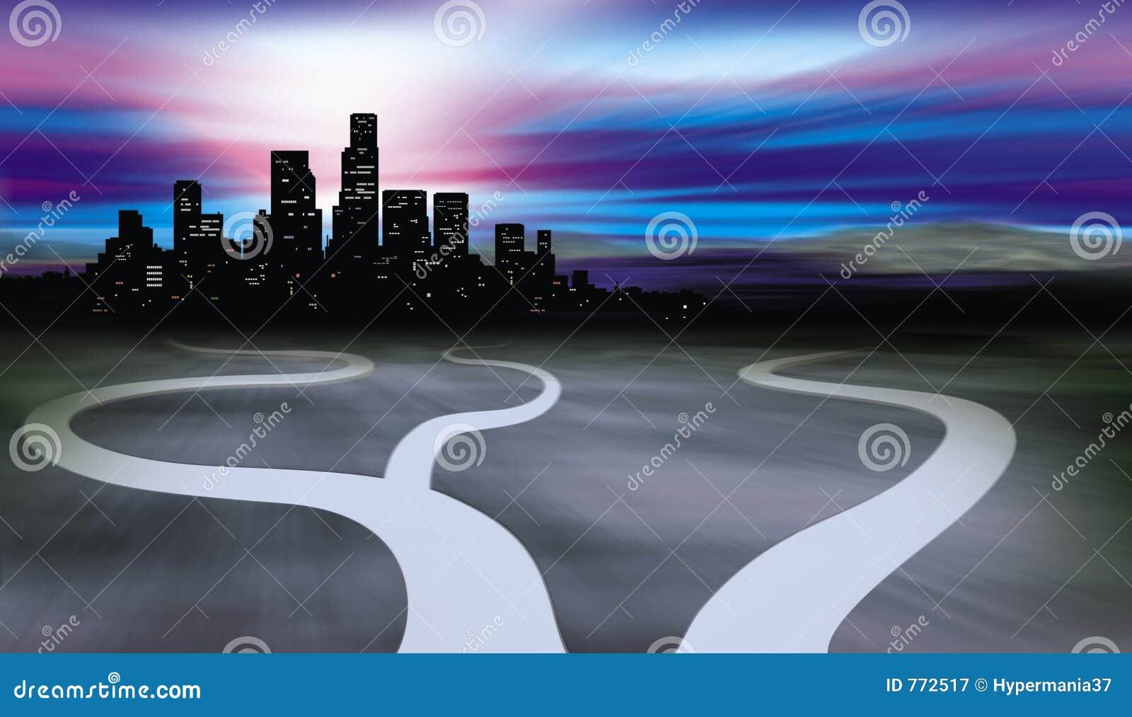 Chemins menant à la ville et au désert
