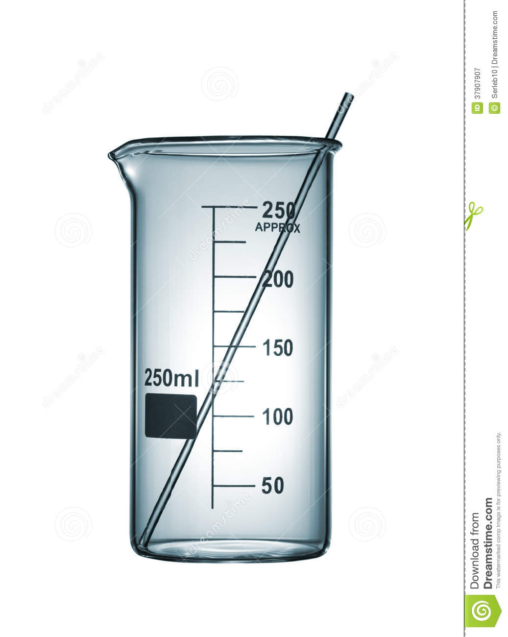 Chemiscal Beaker With A Glass Rod, Isolated On White ...