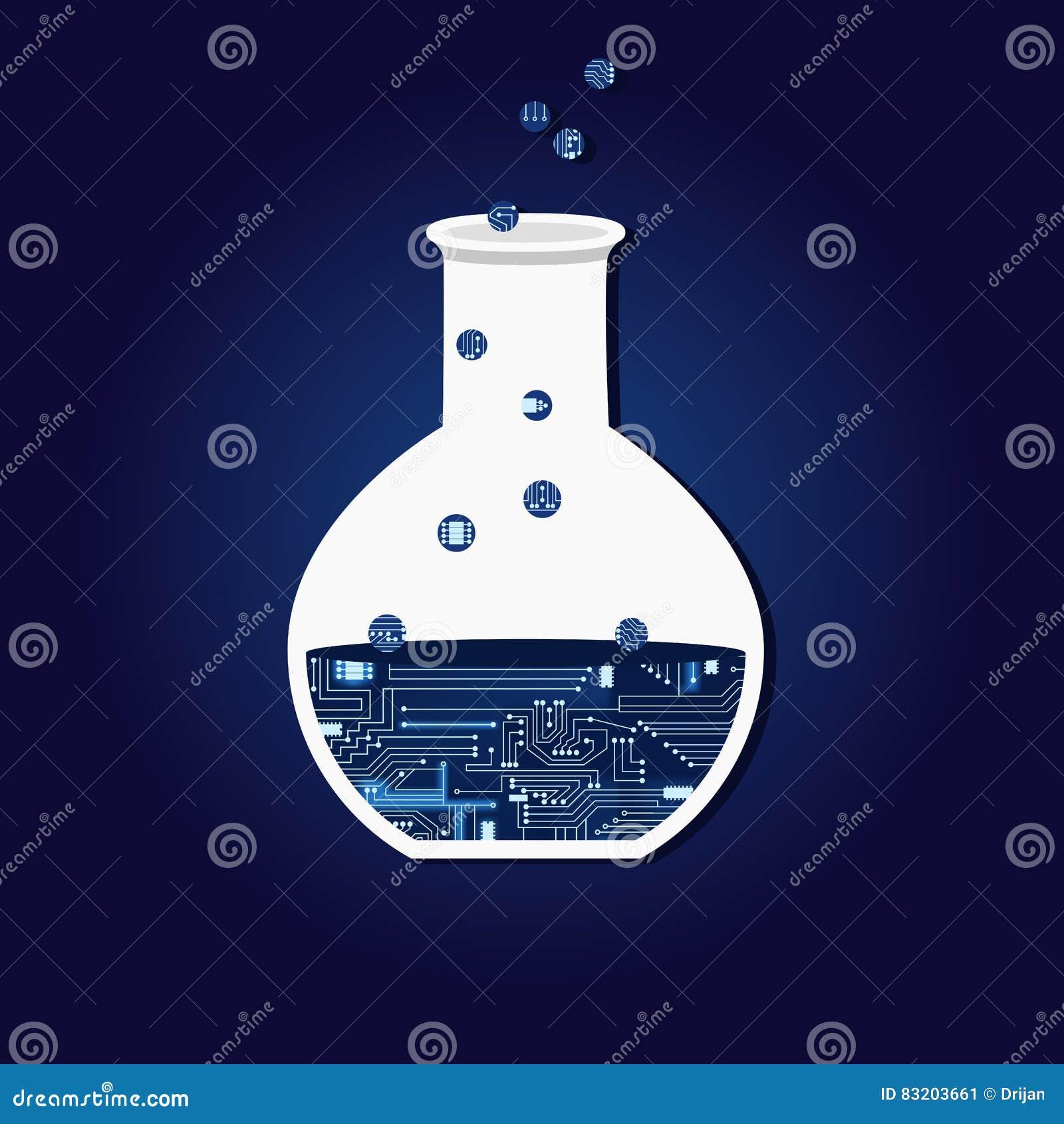 Chemisch experiment met elektronische kring