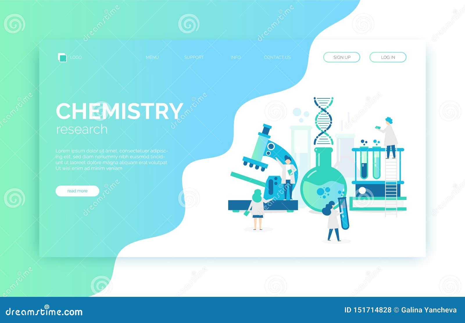 Chemische laboratoriumillustratie met wetenschappers, microscoop, buizen, DNA, onderzoek