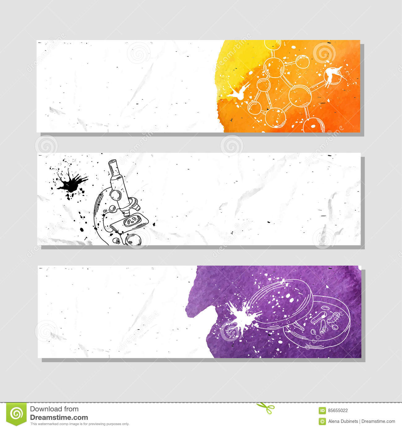 chemistry and biology set of white paper banner templates